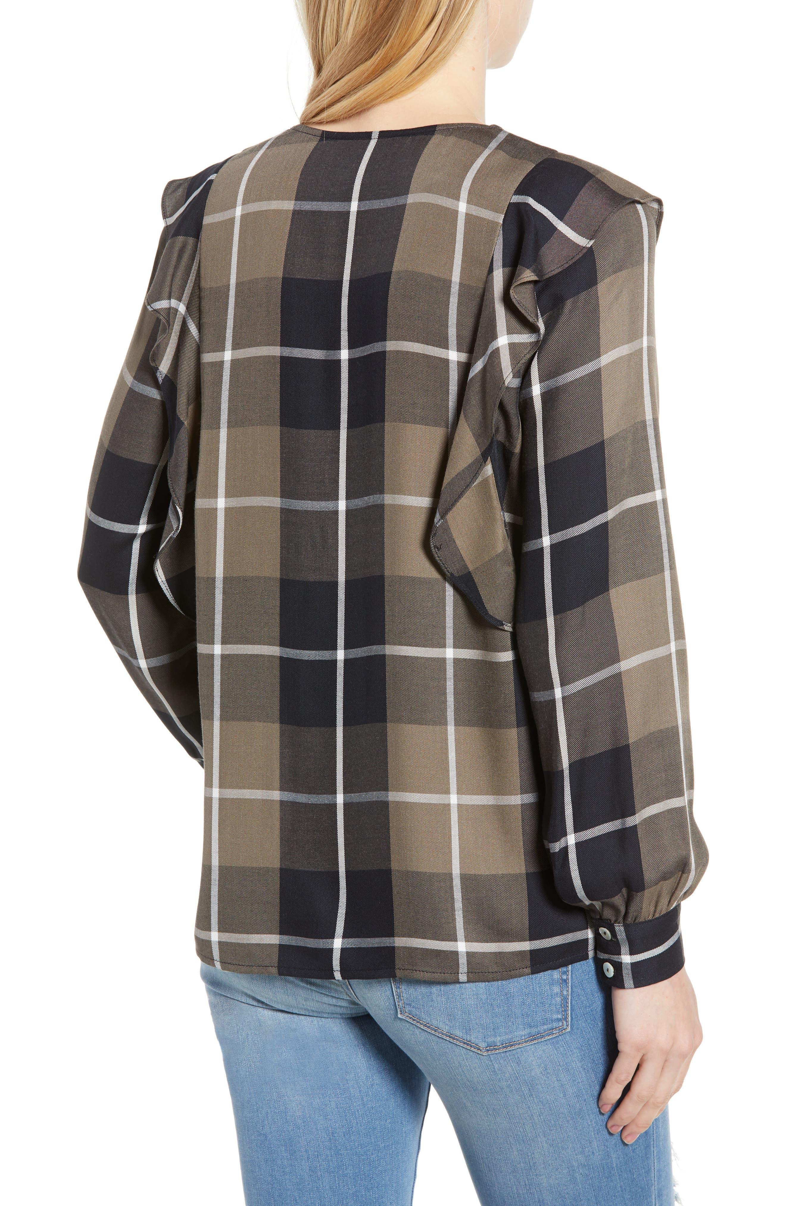 Ruffled Plaid Shirt,                             Alternate thumbnail 2, color,                             001