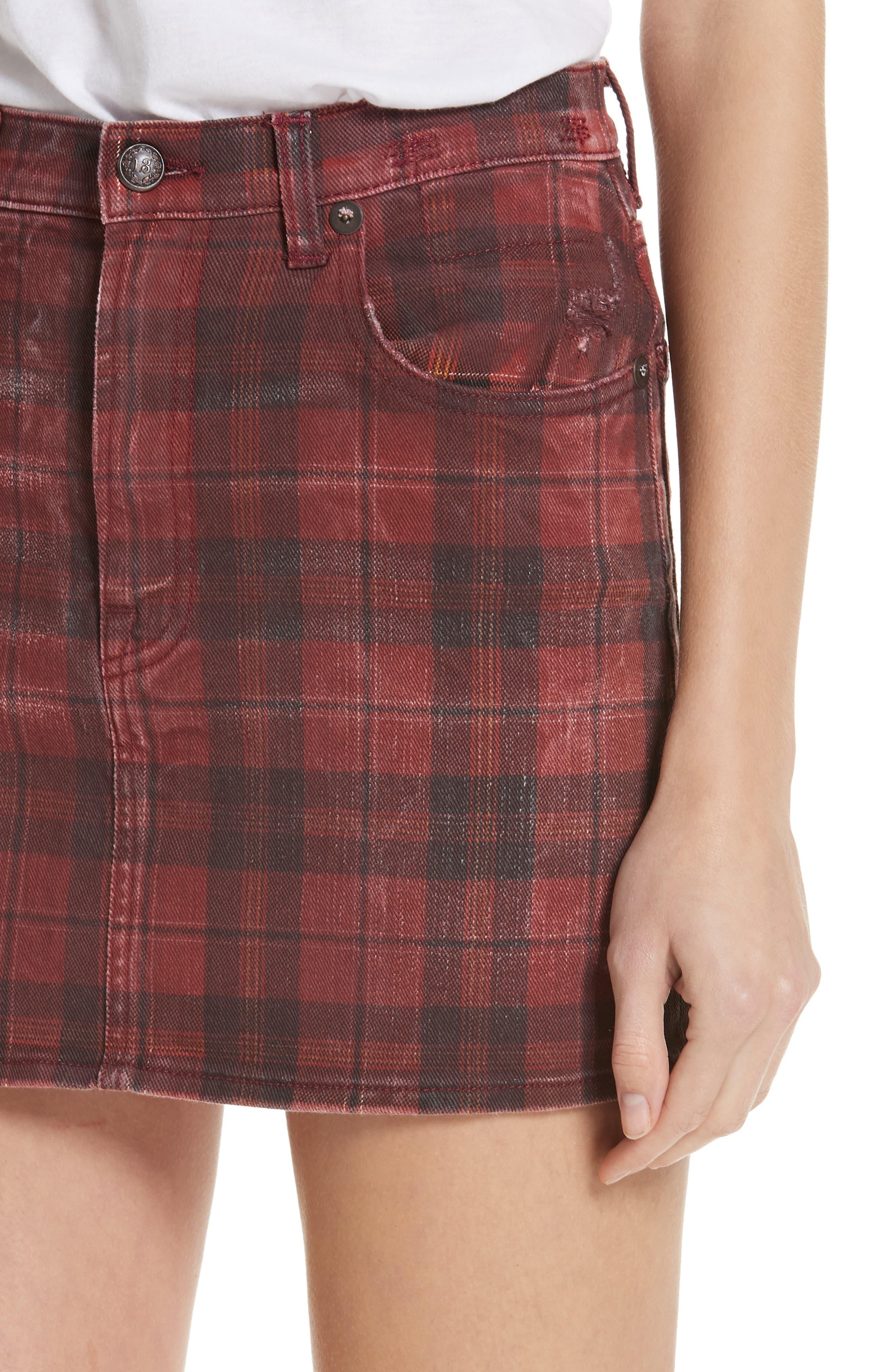 R13,                             Plaid Denim Miniskirt,                             Alternate thumbnail 4, color,                             600