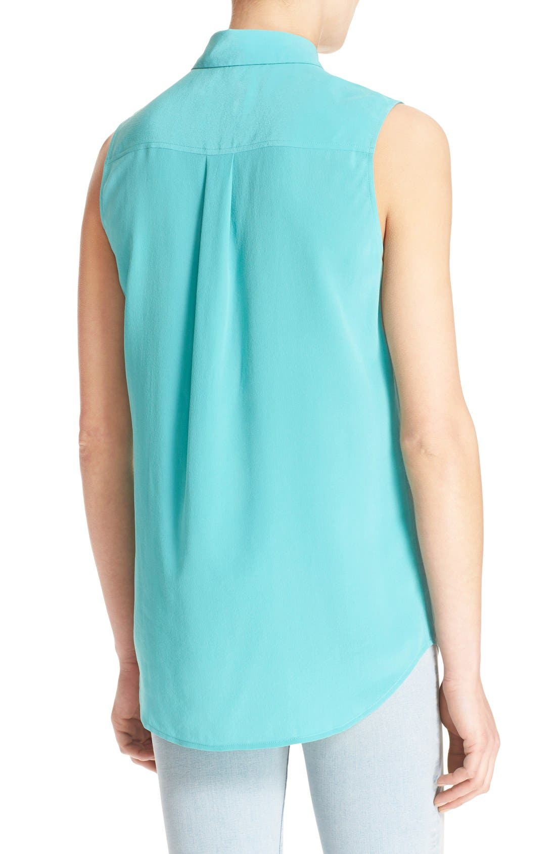 'Slim Signature' Sleeveless Silk Shirt,                             Alternate thumbnail 112, color,