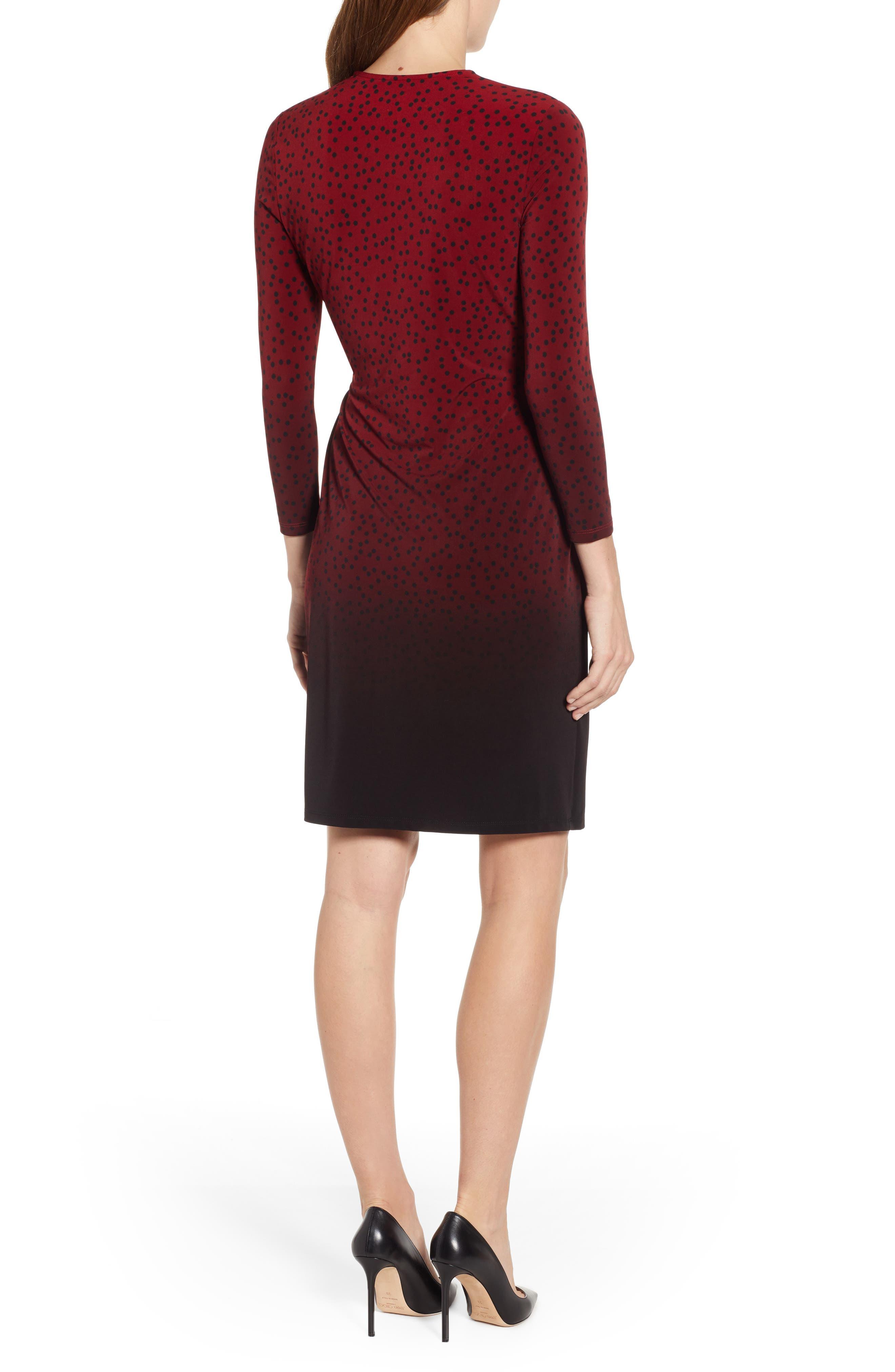 ANNE KLEIN,                             Camille Dot Faux Wrap Dress,                             Alternate thumbnail 2, color,                             DK TITIAN RED/ ANNE BLK COMBO