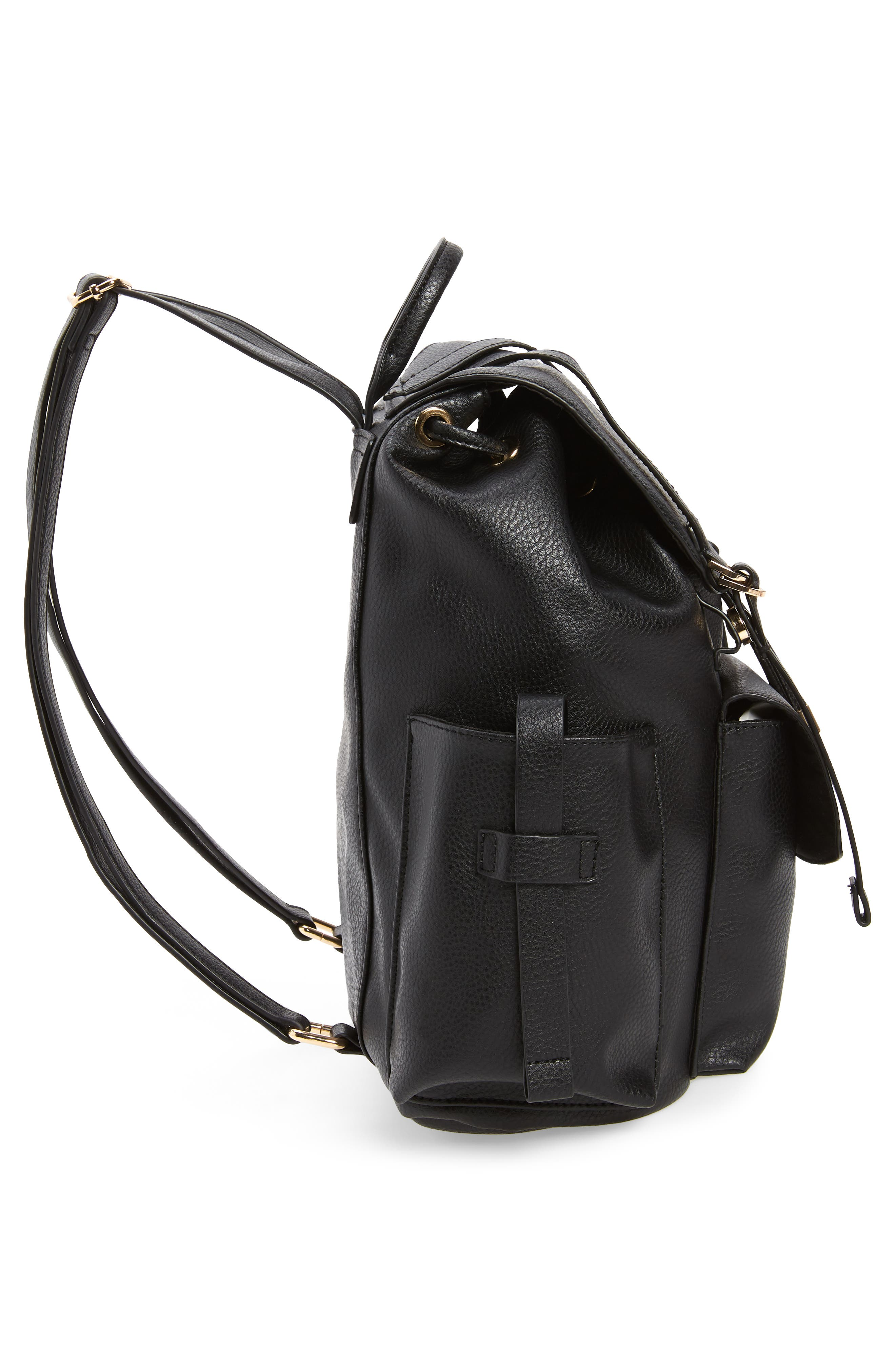 Becky Faux Leather Backpack,                             Alternate thumbnail 5, color,                             001