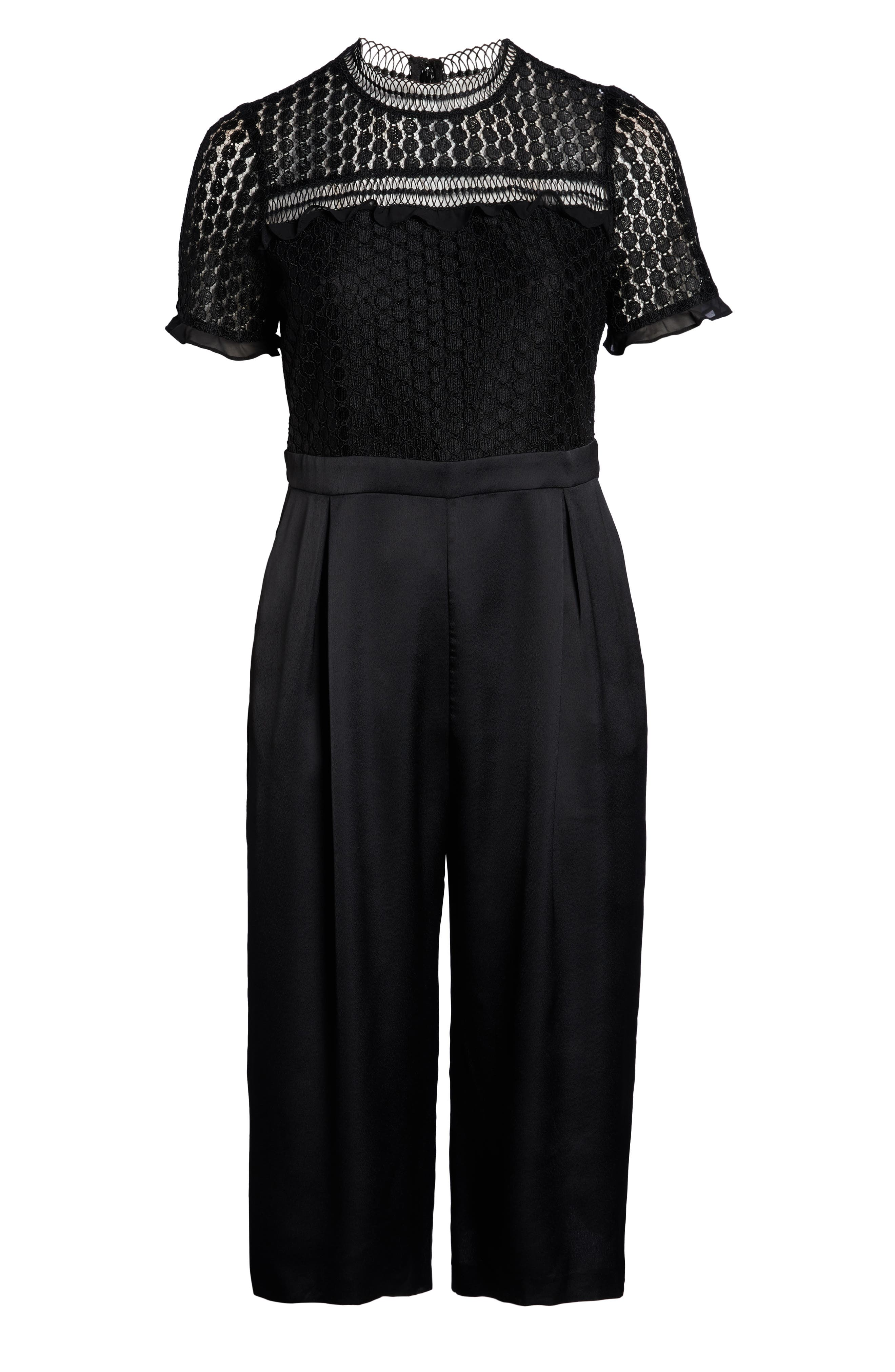 Lace Crop Jumpsuit,                             Alternate thumbnail 7, color,                             BLACK