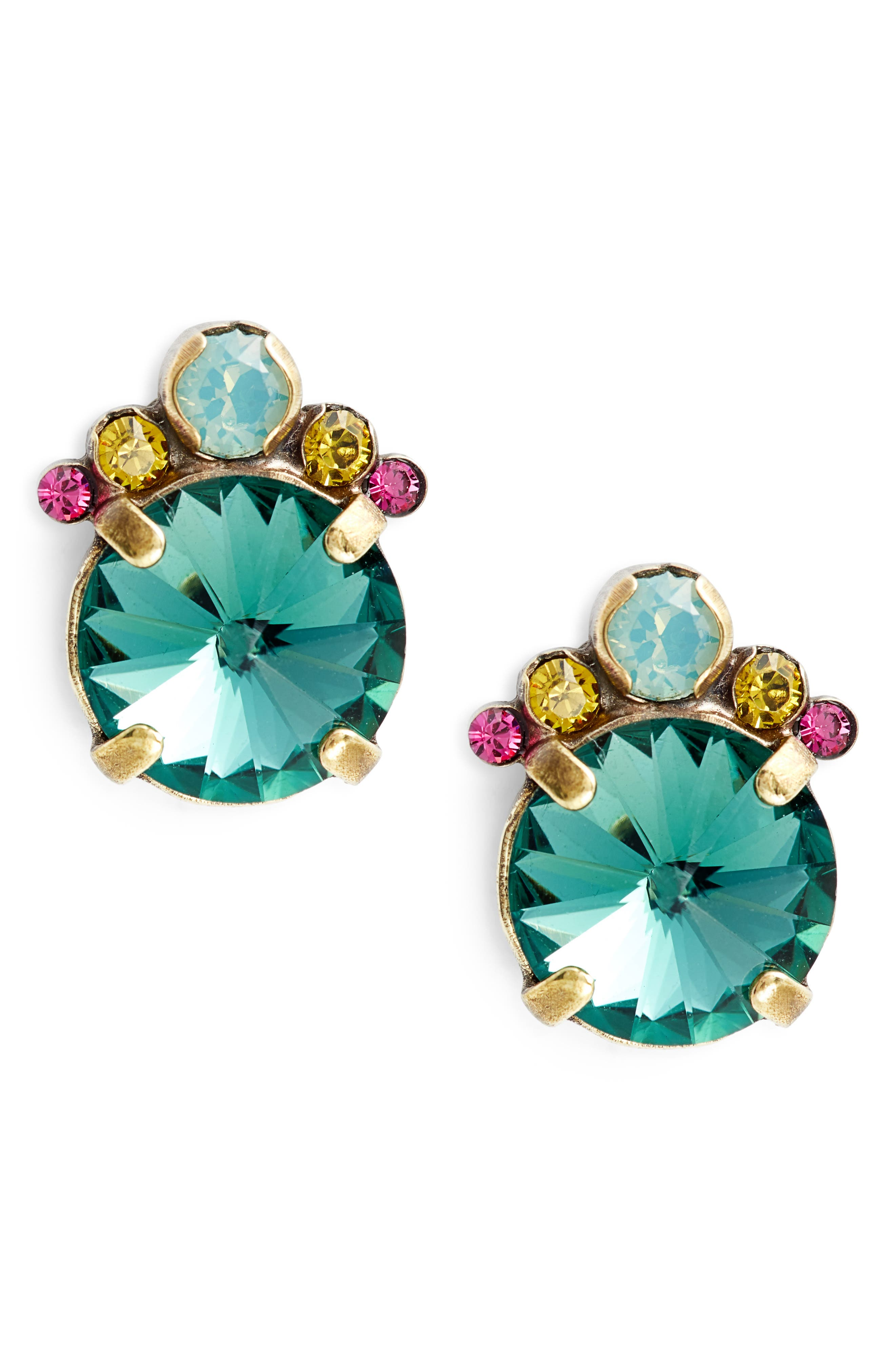 SORRELLI Regal Rounds Crystal Earrings, Main, color, BLUE-GREEN