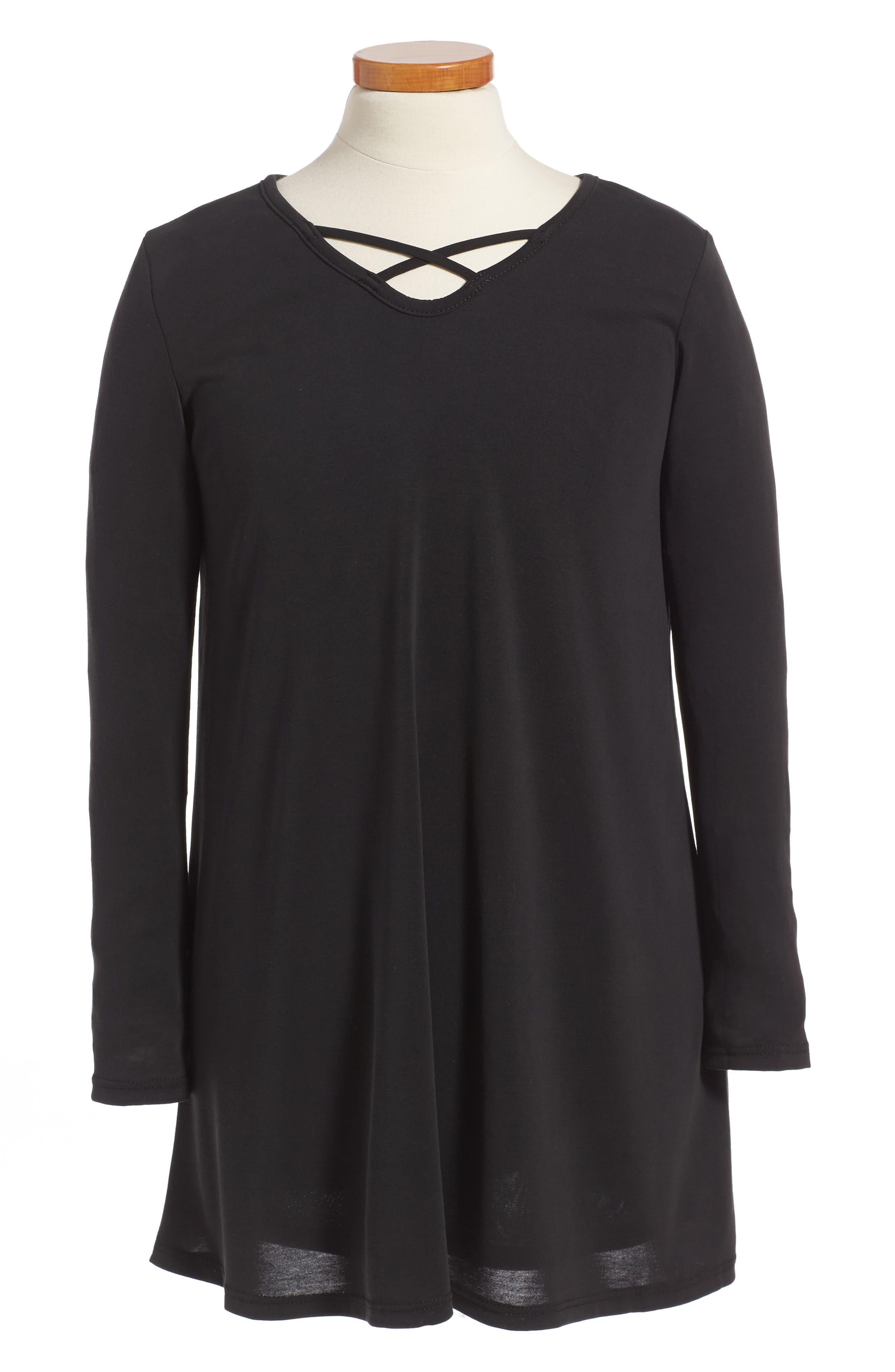 Cross Front Knit Dress,                             Main thumbnail 1, color,                             002