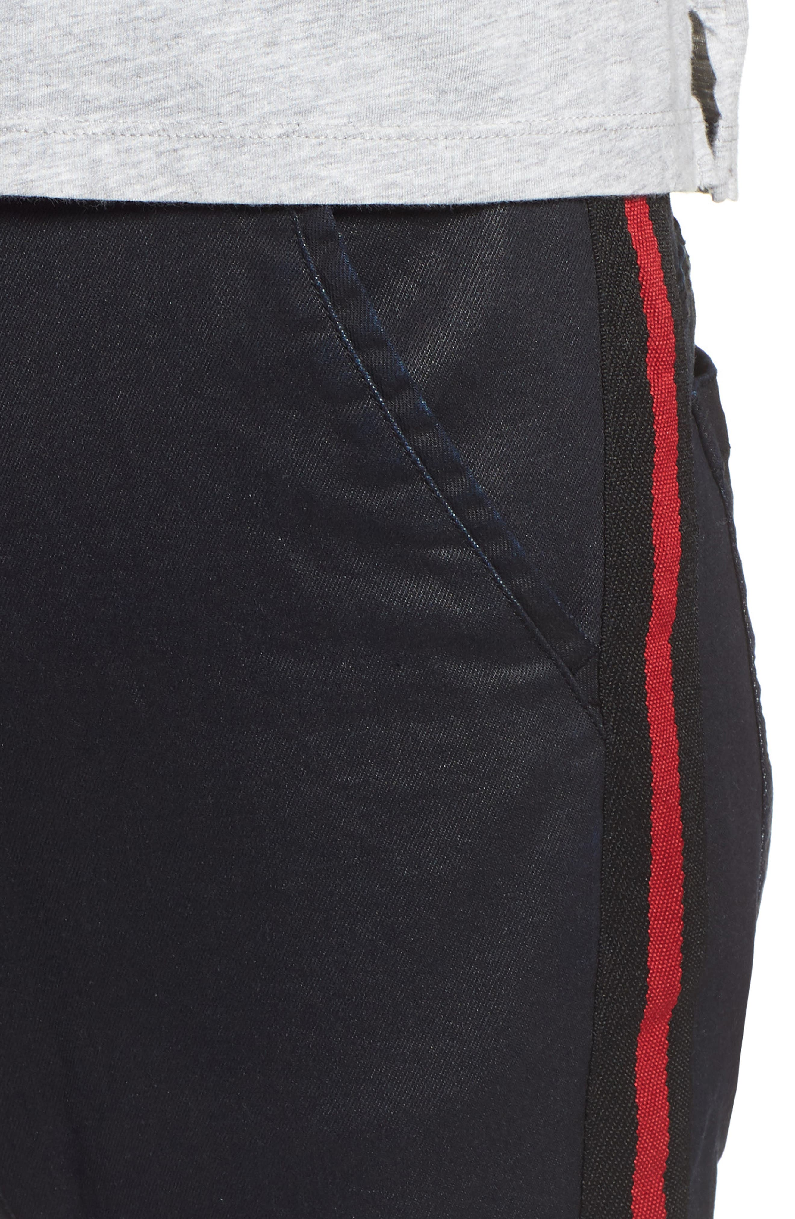 Baseline Taped Skinny Fit Jeans,                             Alternate thumbnail 4, color,                             WAX BLACK RED STRIPE