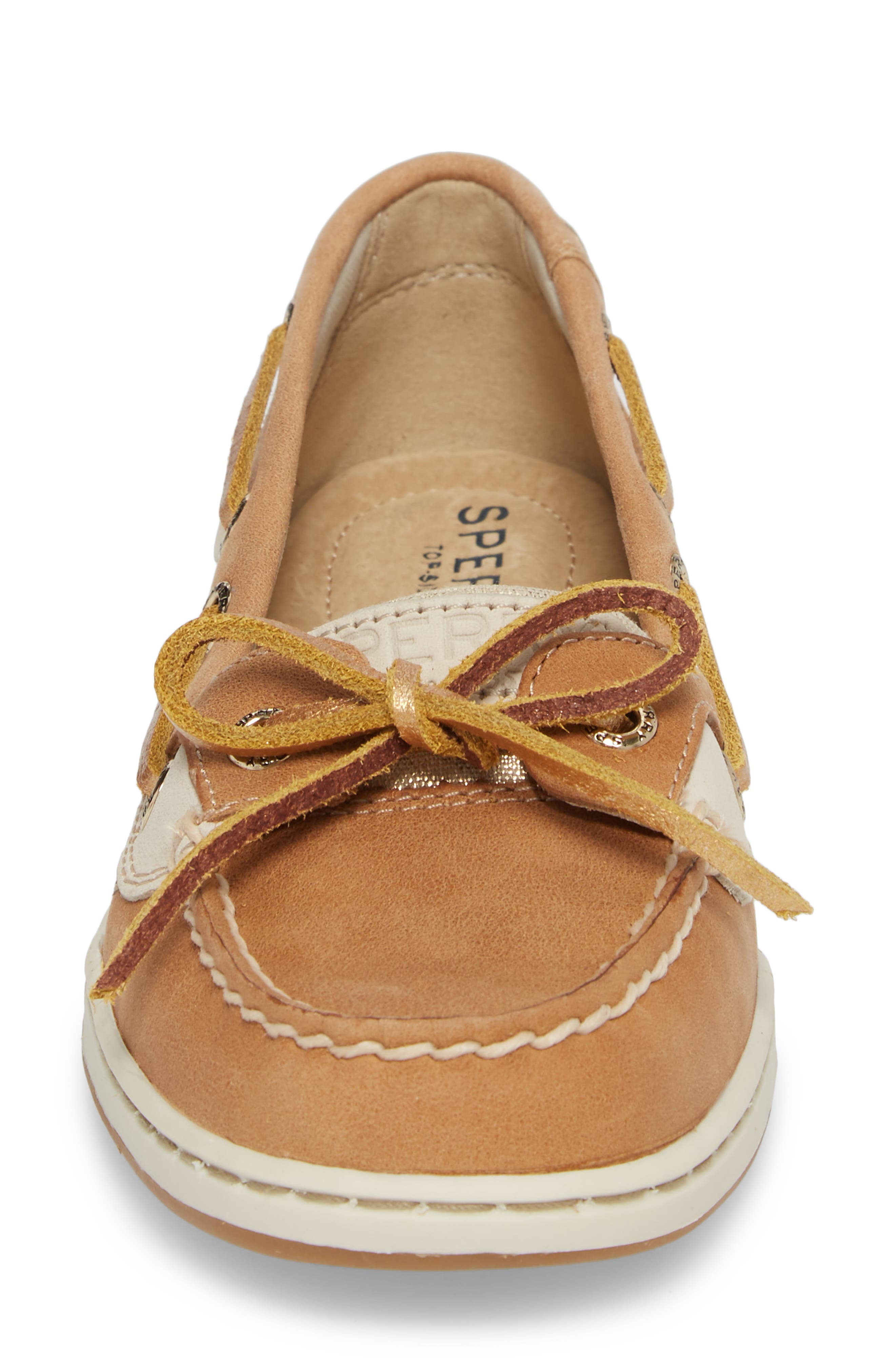 'Angelfish' Boat Shoe,                             Alternate thumbnail 4, color,                             LINEN METALLIC LEATHER