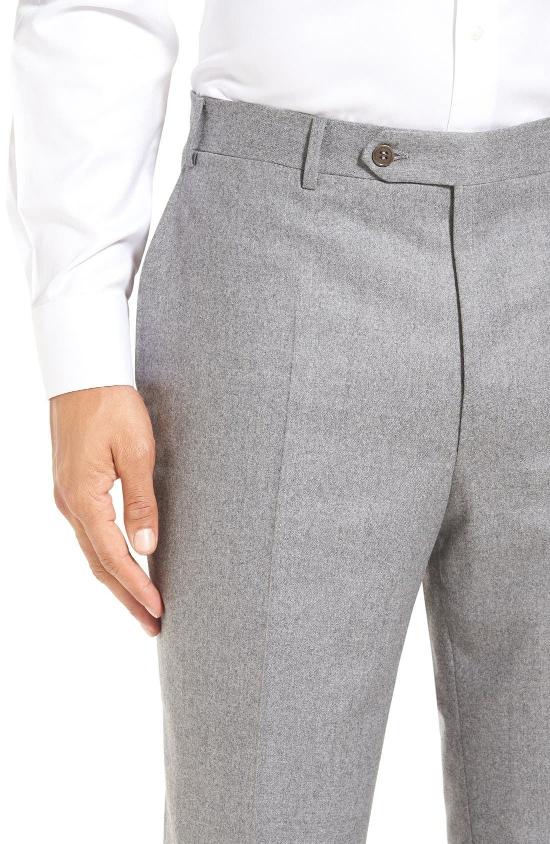 Flat Front Solid Wool Trousers,                             Alternate thumbnail 5, color,                             LIGHT GREY