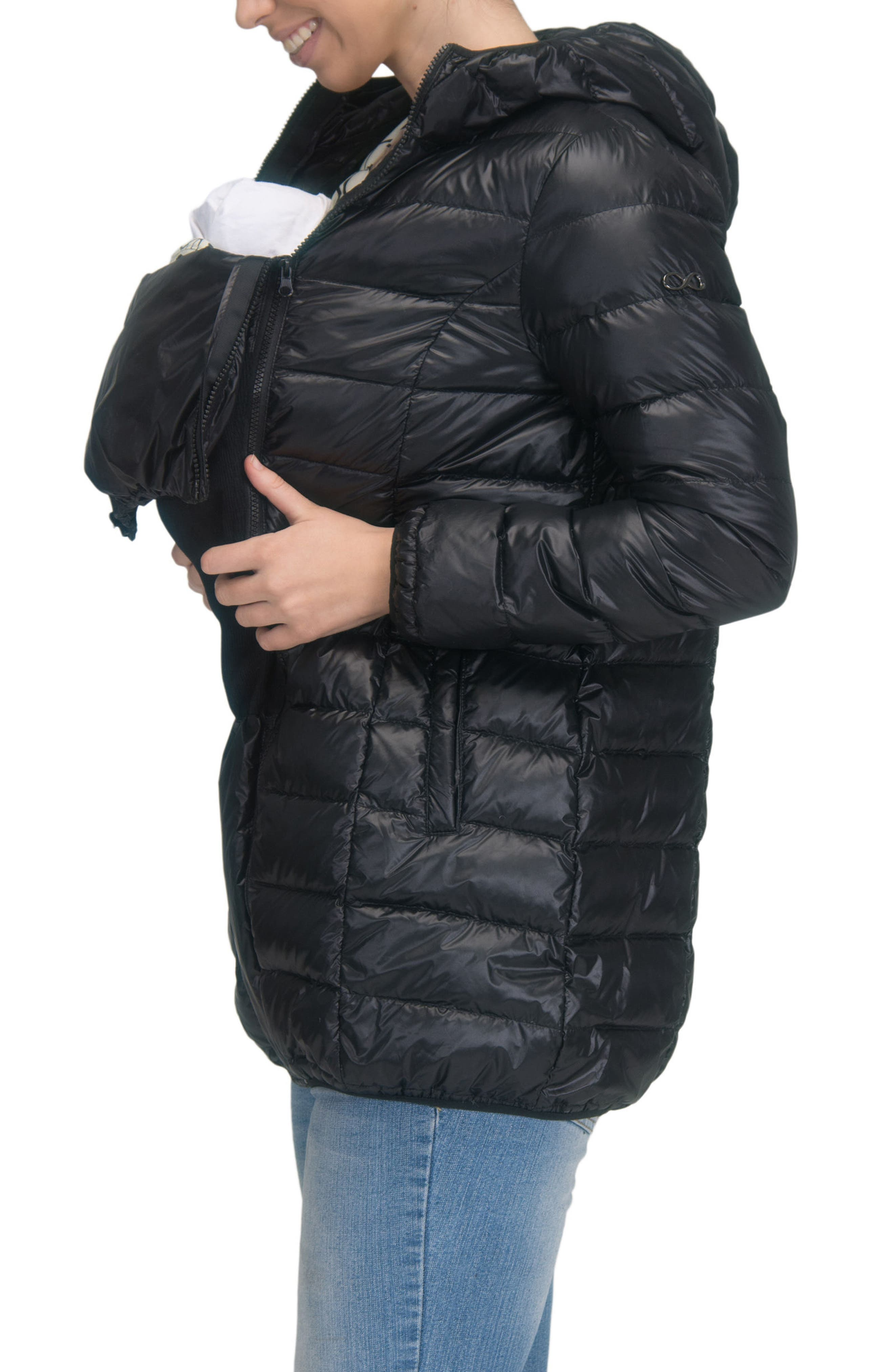 Lightweight Down 3-in-1 Maternity/Nursing Jacket,                             Alternate thumbnail 4, color,                             BLACK