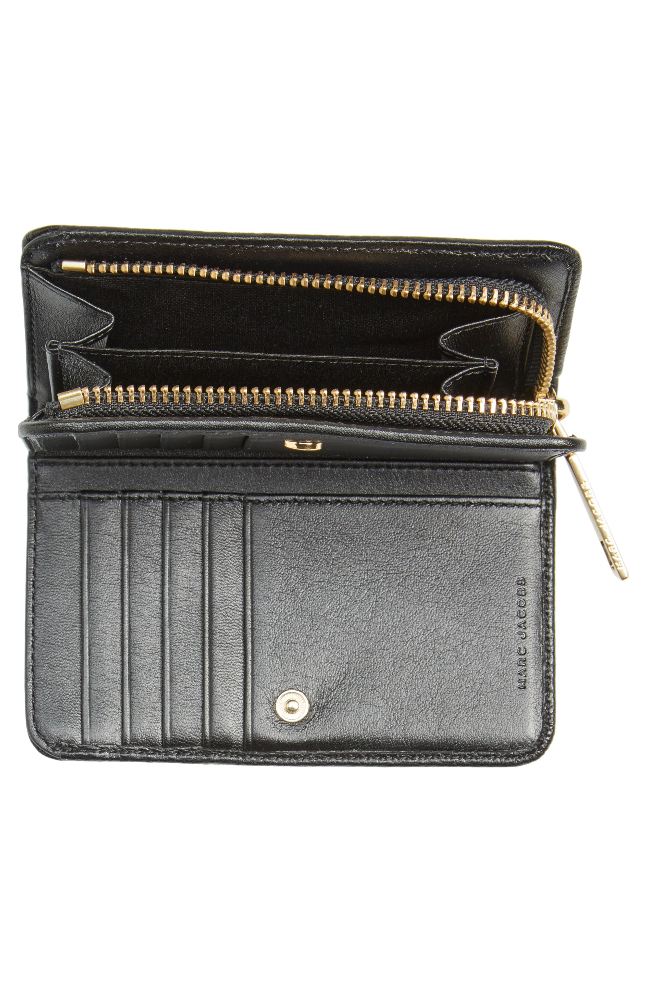 Gotham Compact Leather Wallet,                             Alternate thumbnail 4, color,                             002
