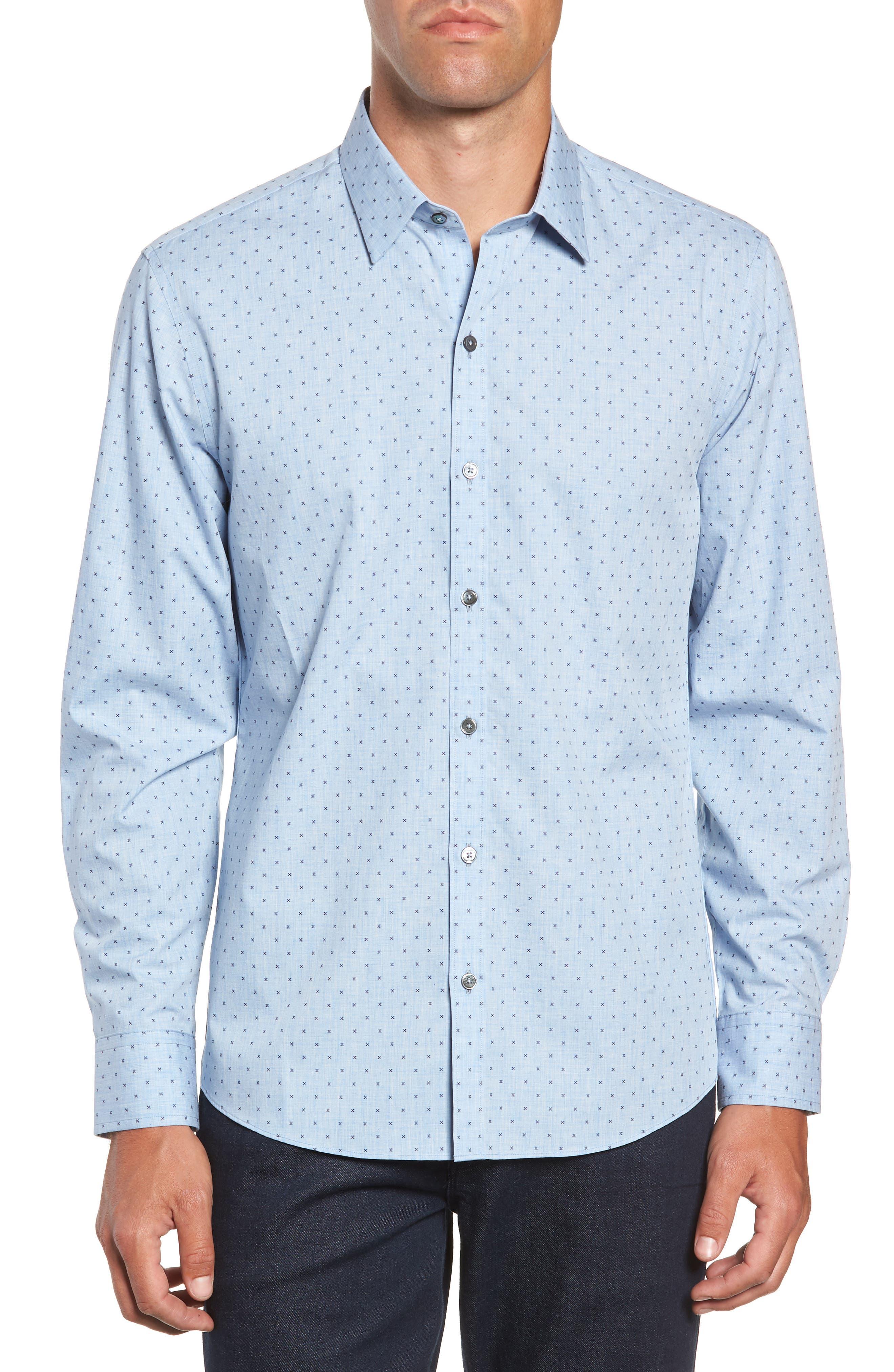 ZACHARY PRELL,                             Zhang Regular Fit Sport Shirt,                             Main thumbnail 1, color,                             LIGHT BLUE