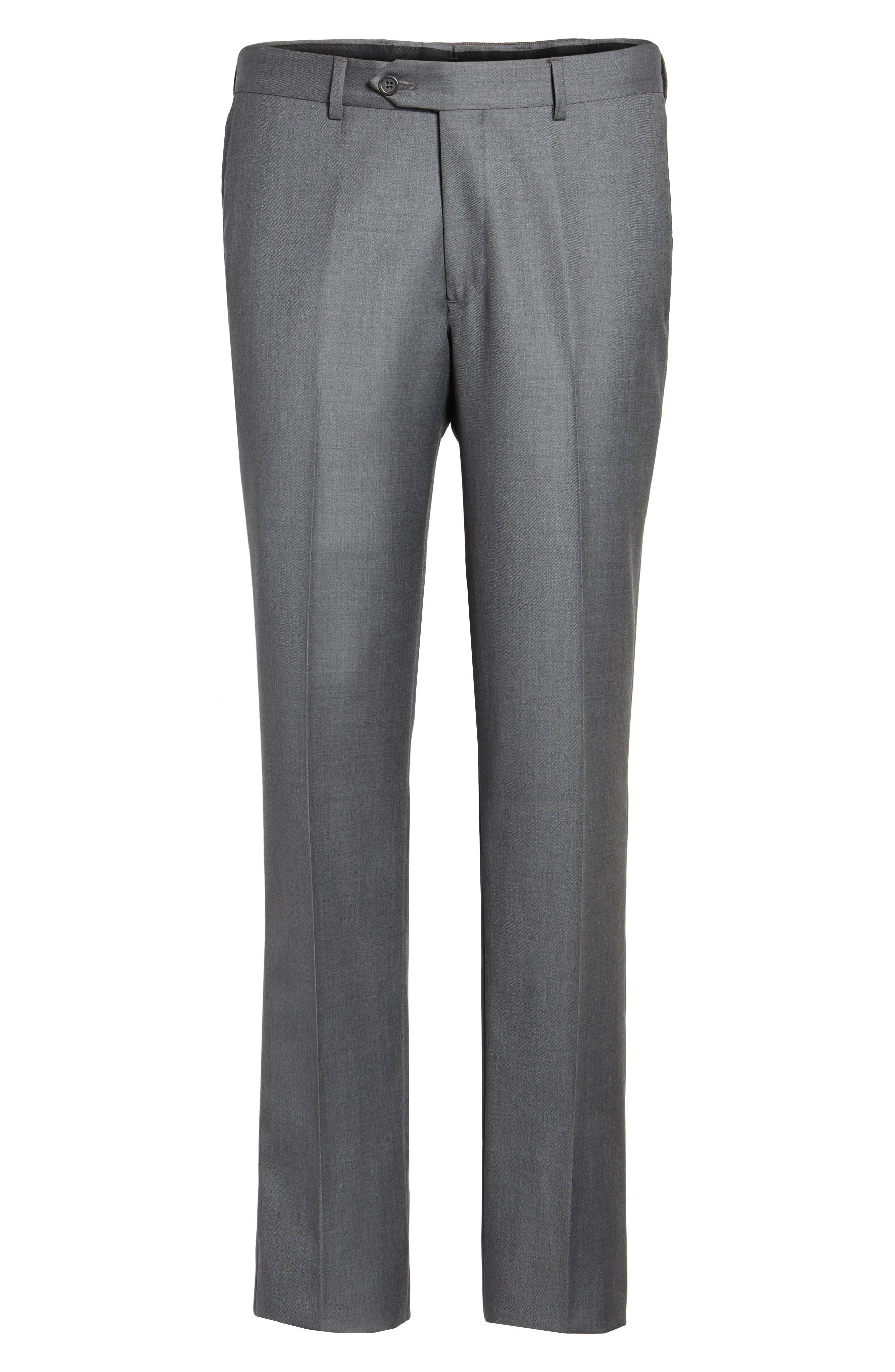 Flat Front Solid Wool Trousers,                             Alternate thumbnail 31, color,