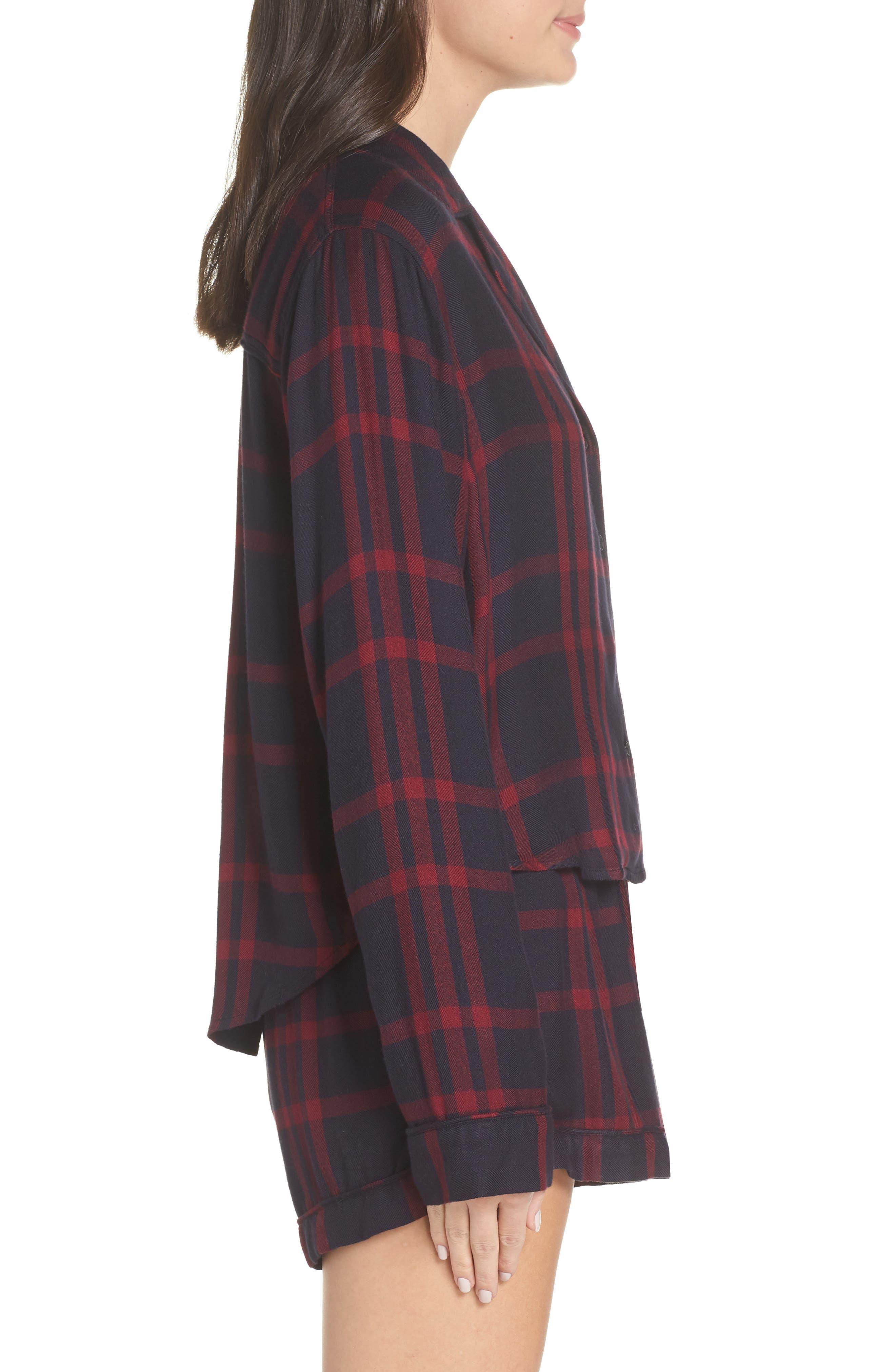 Short Pajamas,                             Alternate thumbnail 3, color,                             BLACK CHERRY