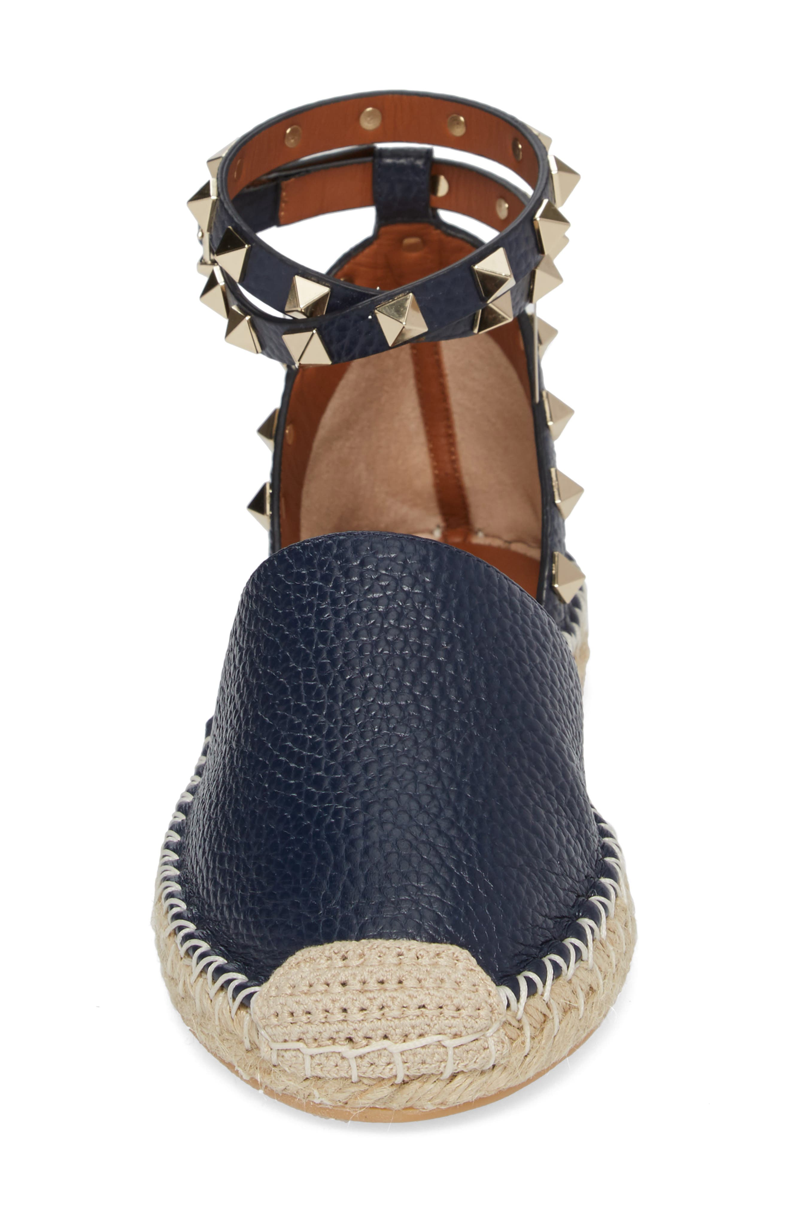Rockstud Espadrille Flat,                             Alternate thumbnail 4, color,                             MARINE