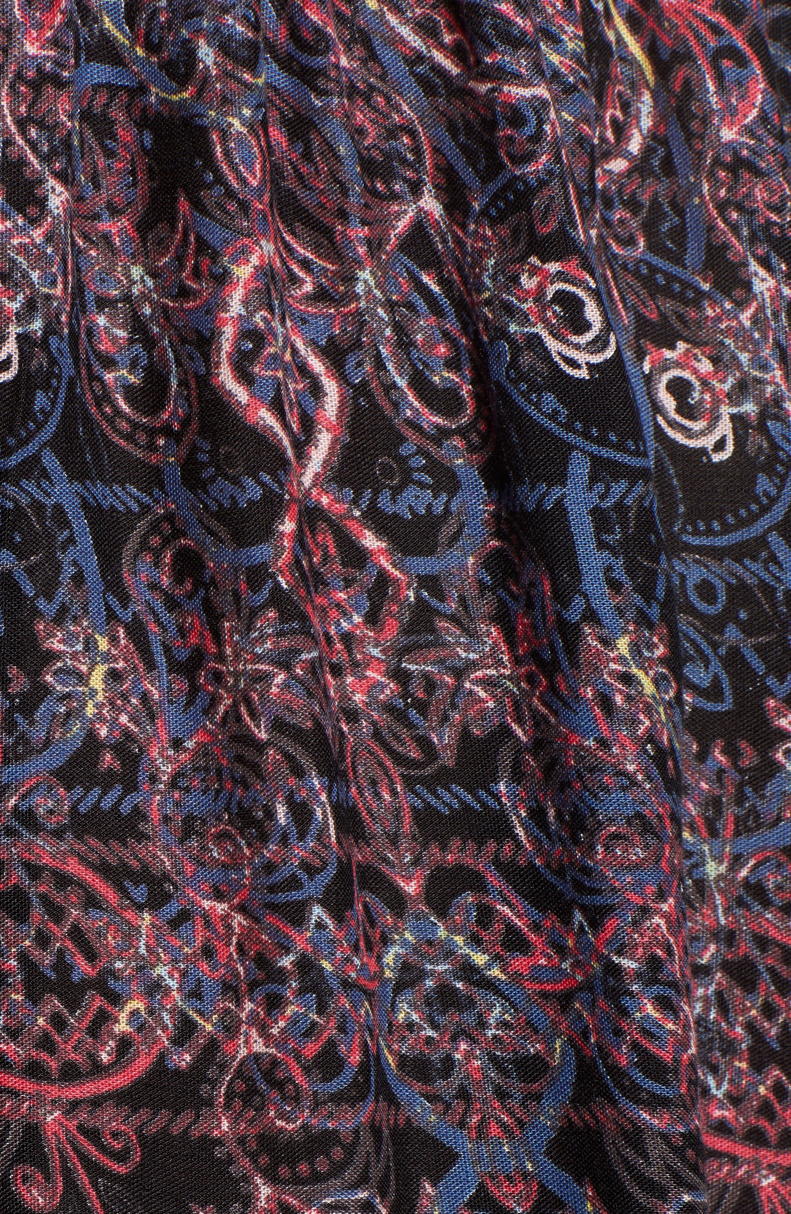 Floral Offering Minidress,                             Alternate thumbnail 6, color,                             TRUE BLACK NIGHTLIGHTS