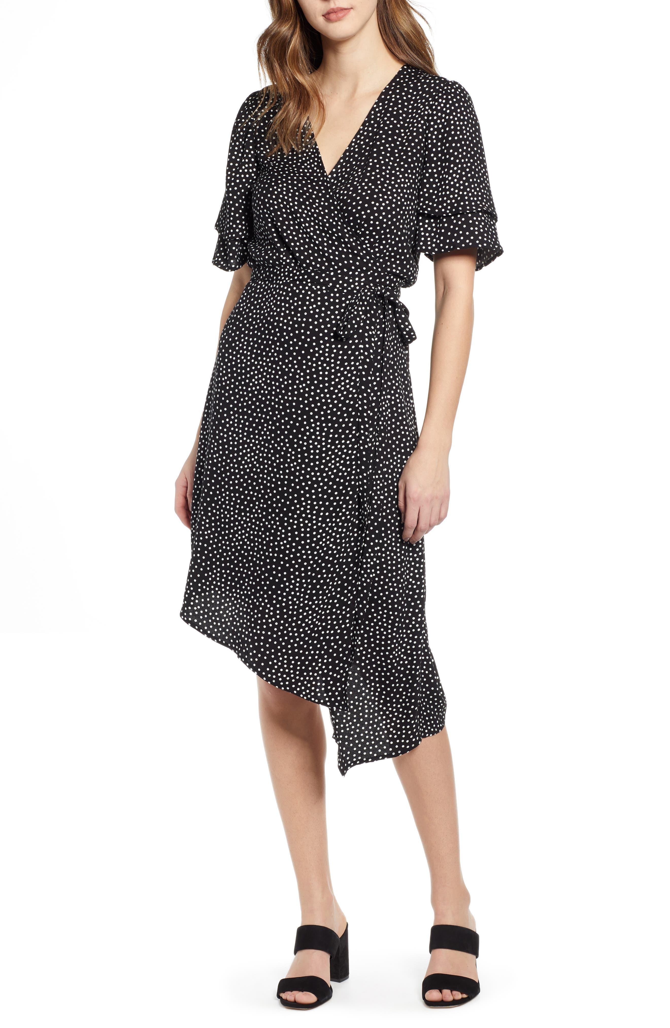 Leith Ruffle Sleeve Wrap Dress, Black