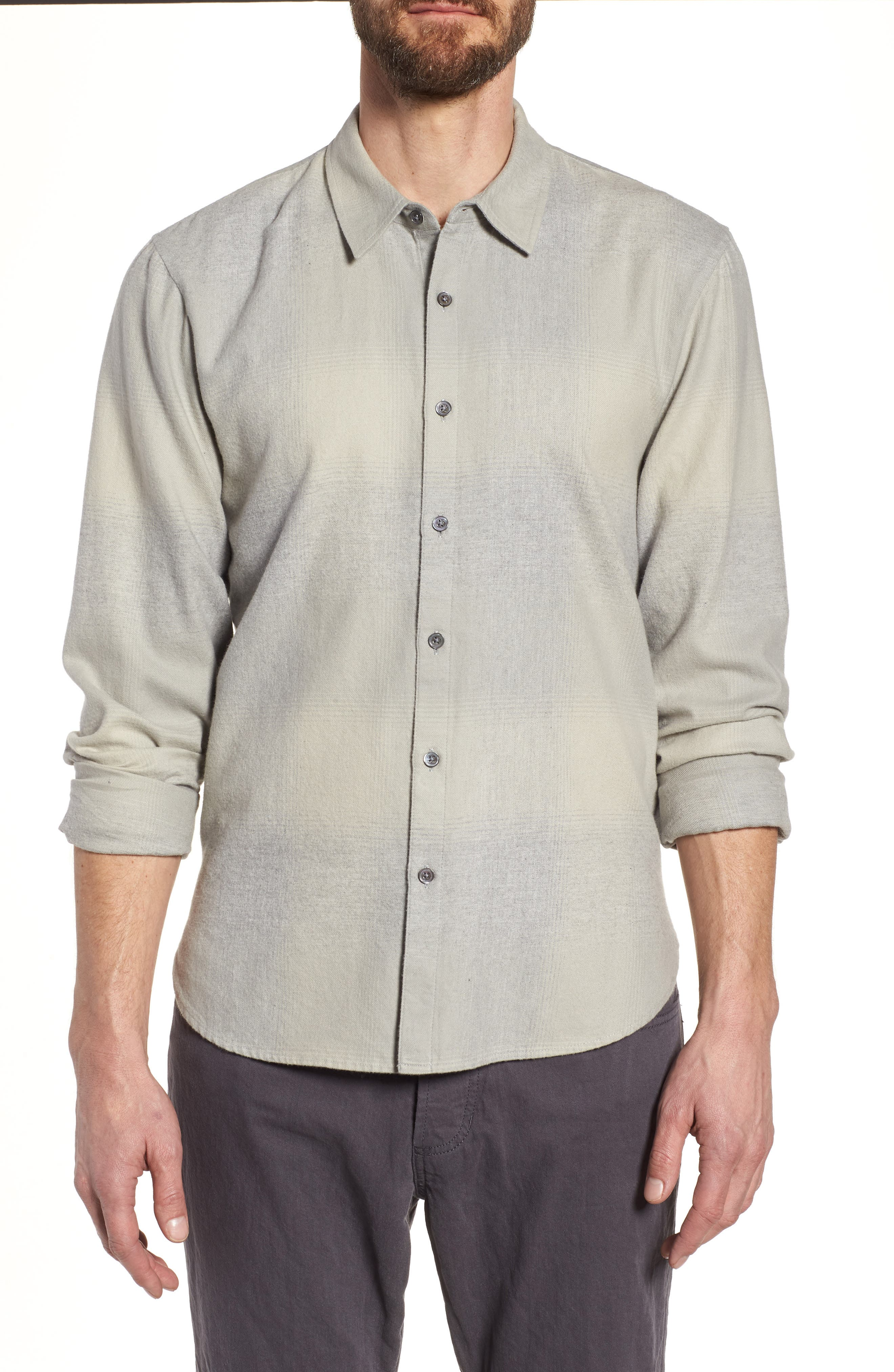 JAMES PERSE Ghost Regular Fit Plaid Sport Shirt, Main, color, 086