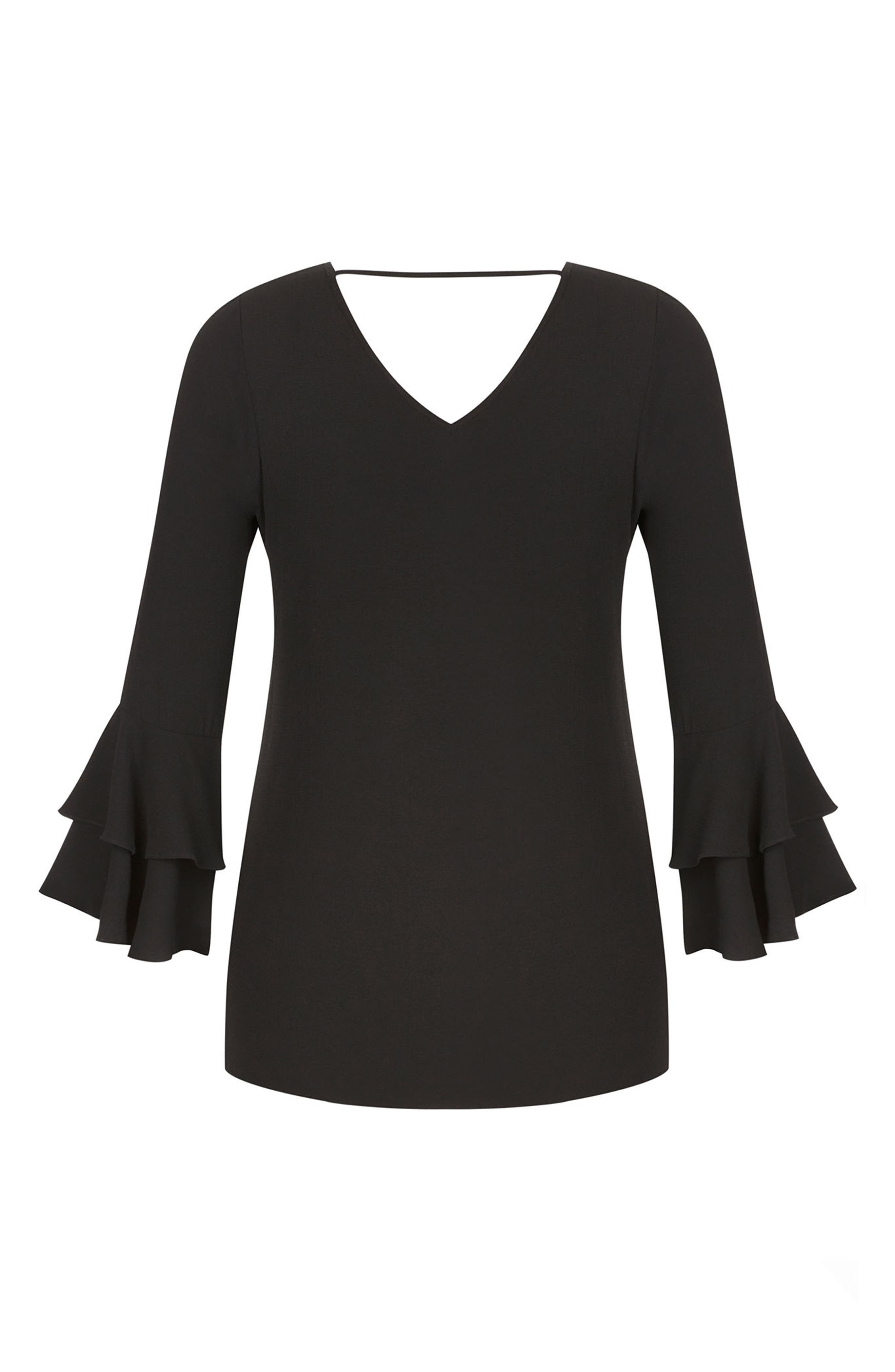 Double Frill Sleeve Top,                             Alternate thumbnail 2, color,                             BLACK