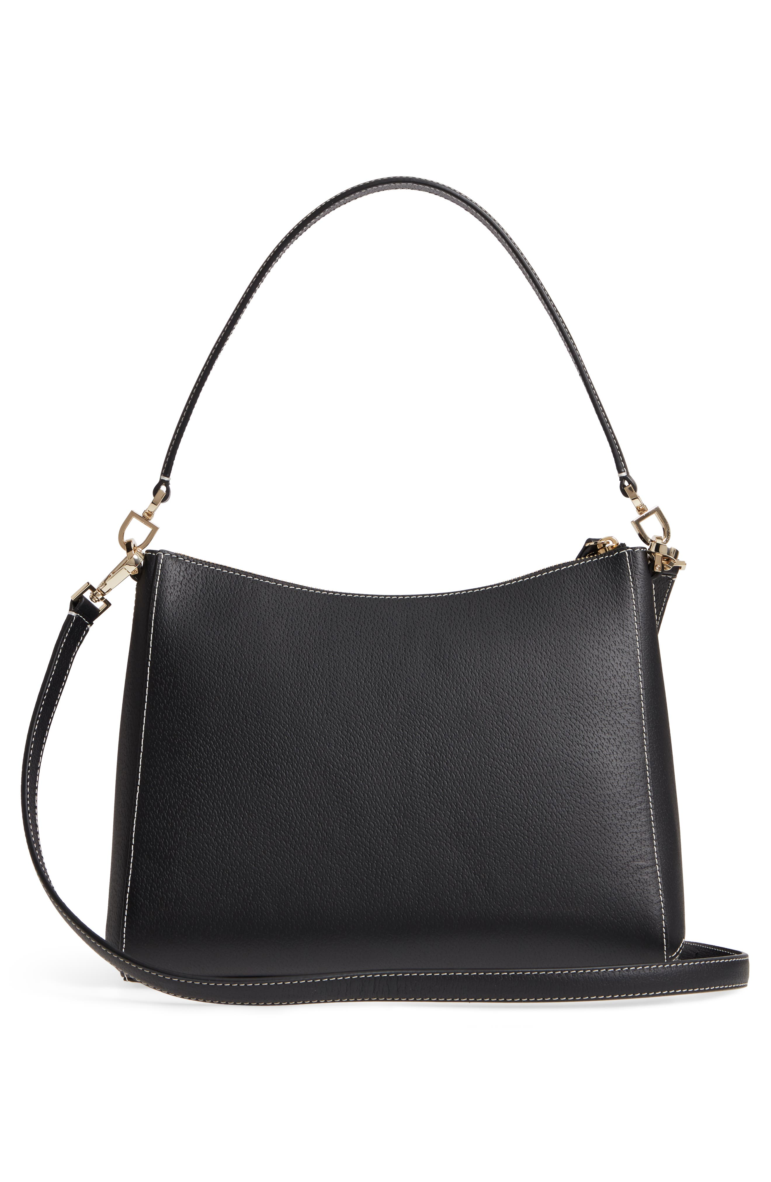 thompson street - marti leather shoulder/crossbody bag,                             Alternate thumbnail 3, color,                             001