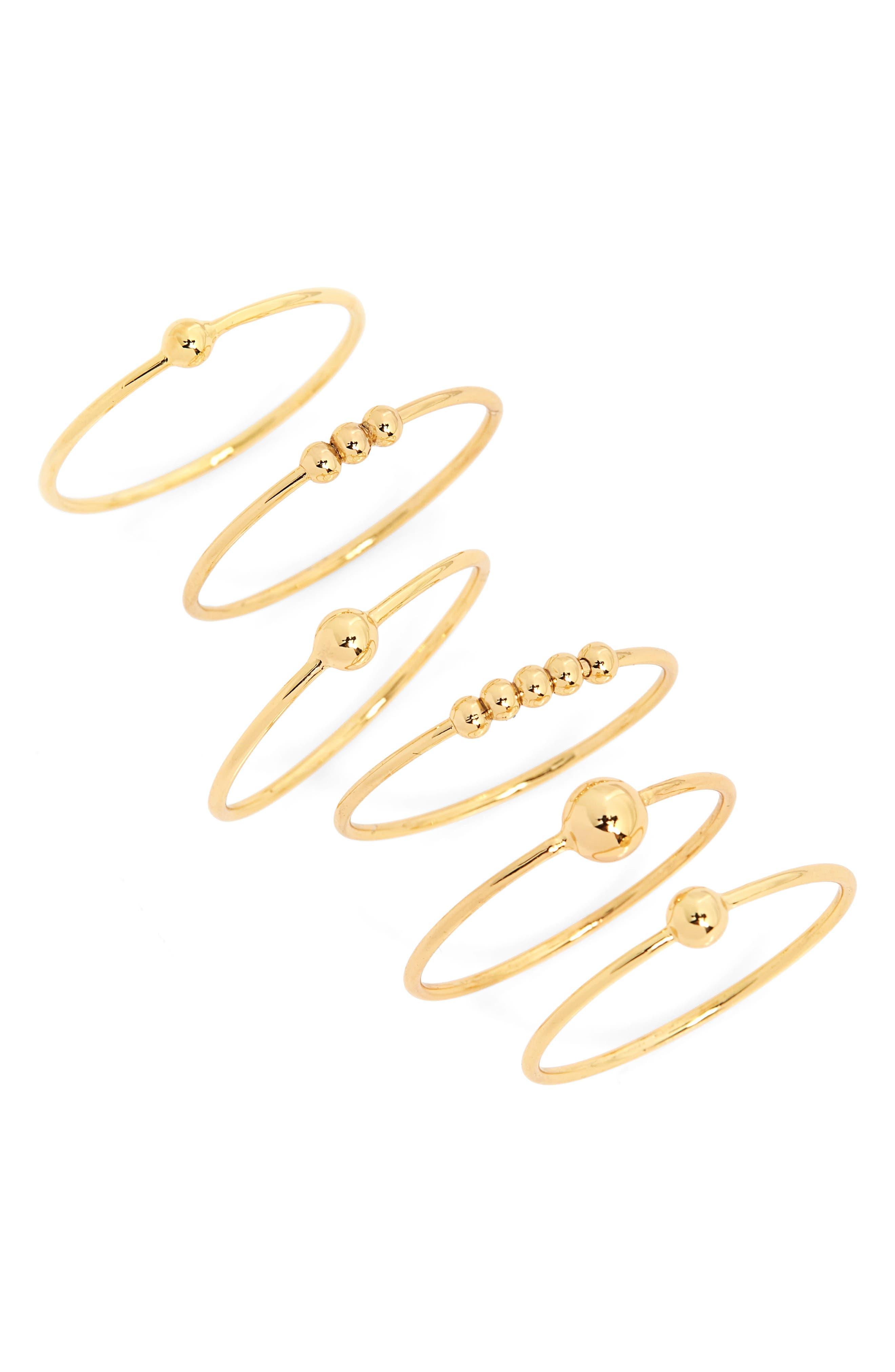 Newport Set of 6 Mixed Stacking Rings,                         Main,                         color, GOLD