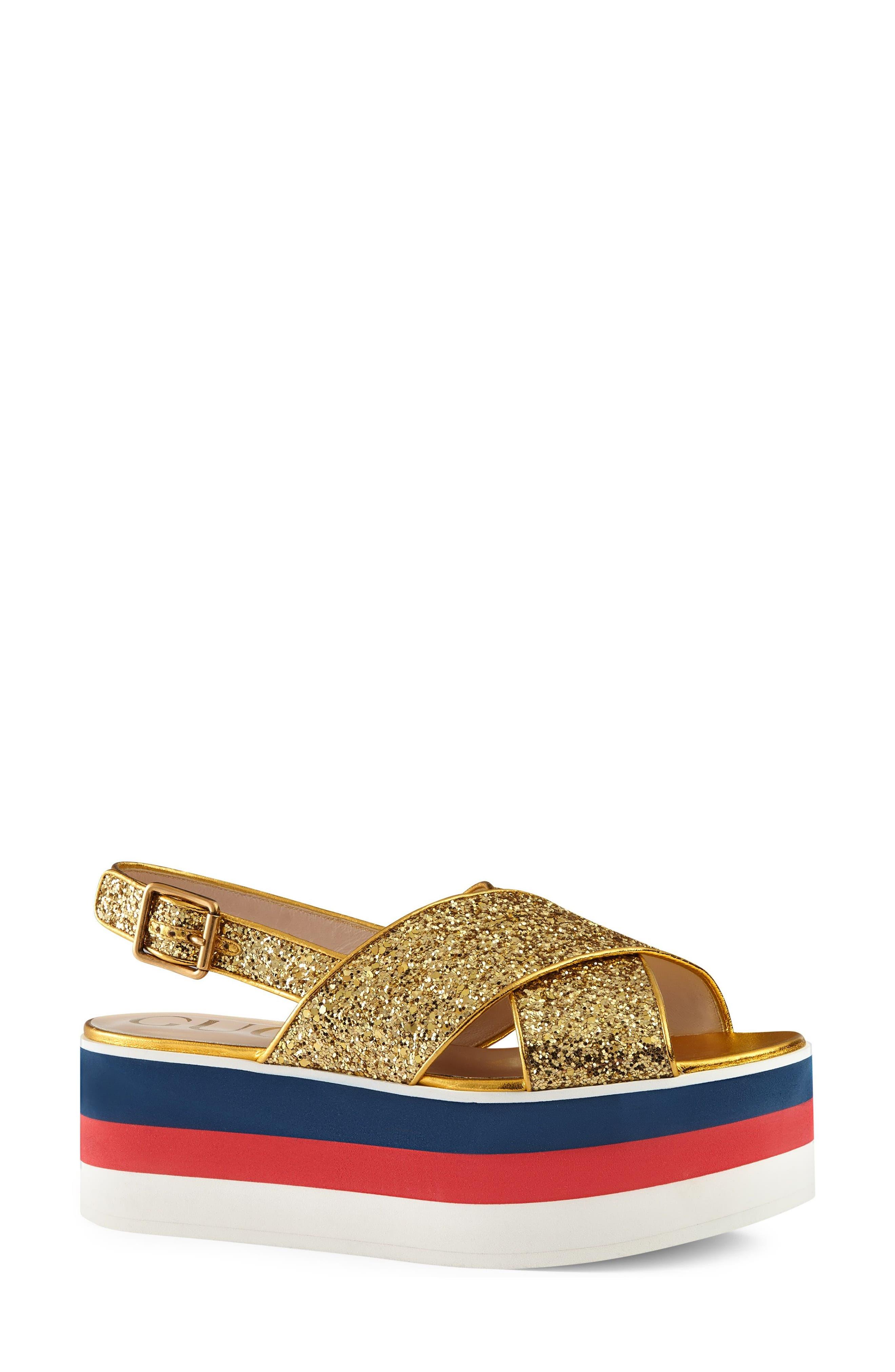 Glitter Flatform Sandal,                             Alternate thumbnail 3, color,