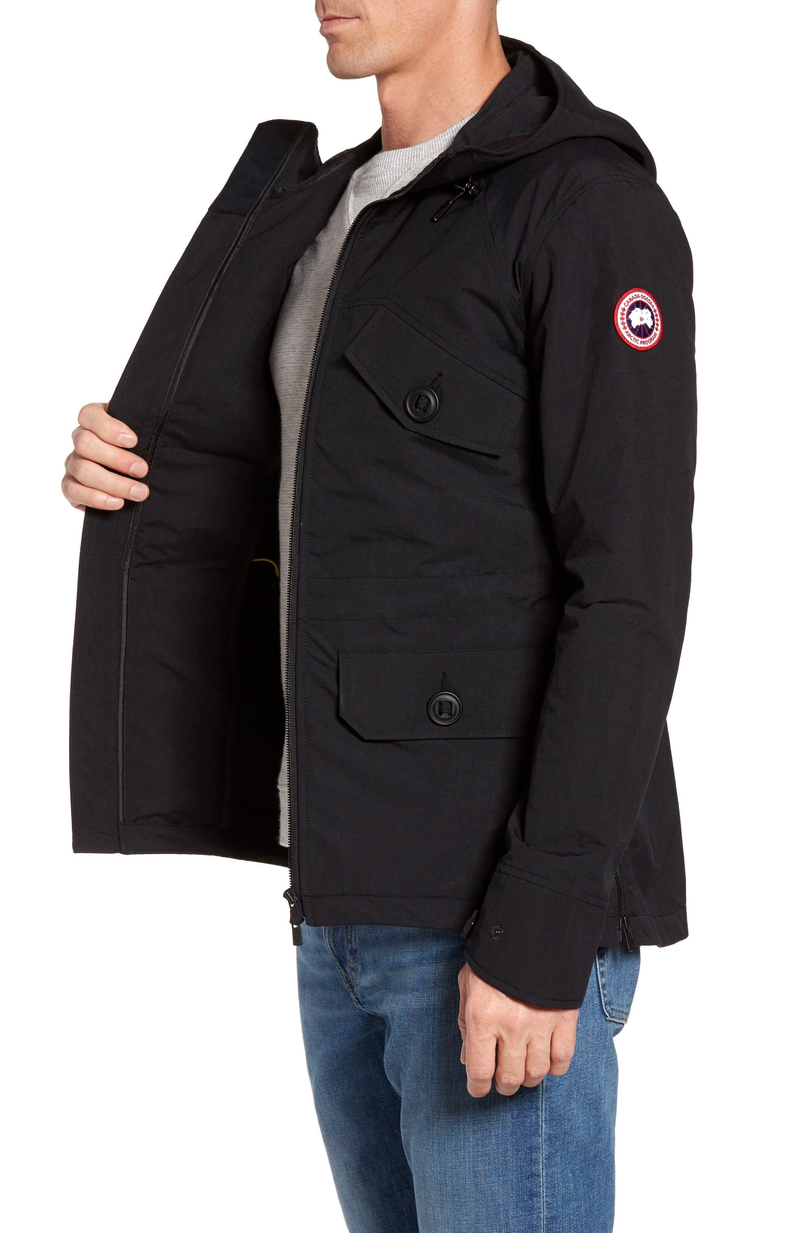 CANADA GOOSE,                             Redstone Slim Fit Hooded Jacket,                             Alternate thumbnail 3, color,                             001