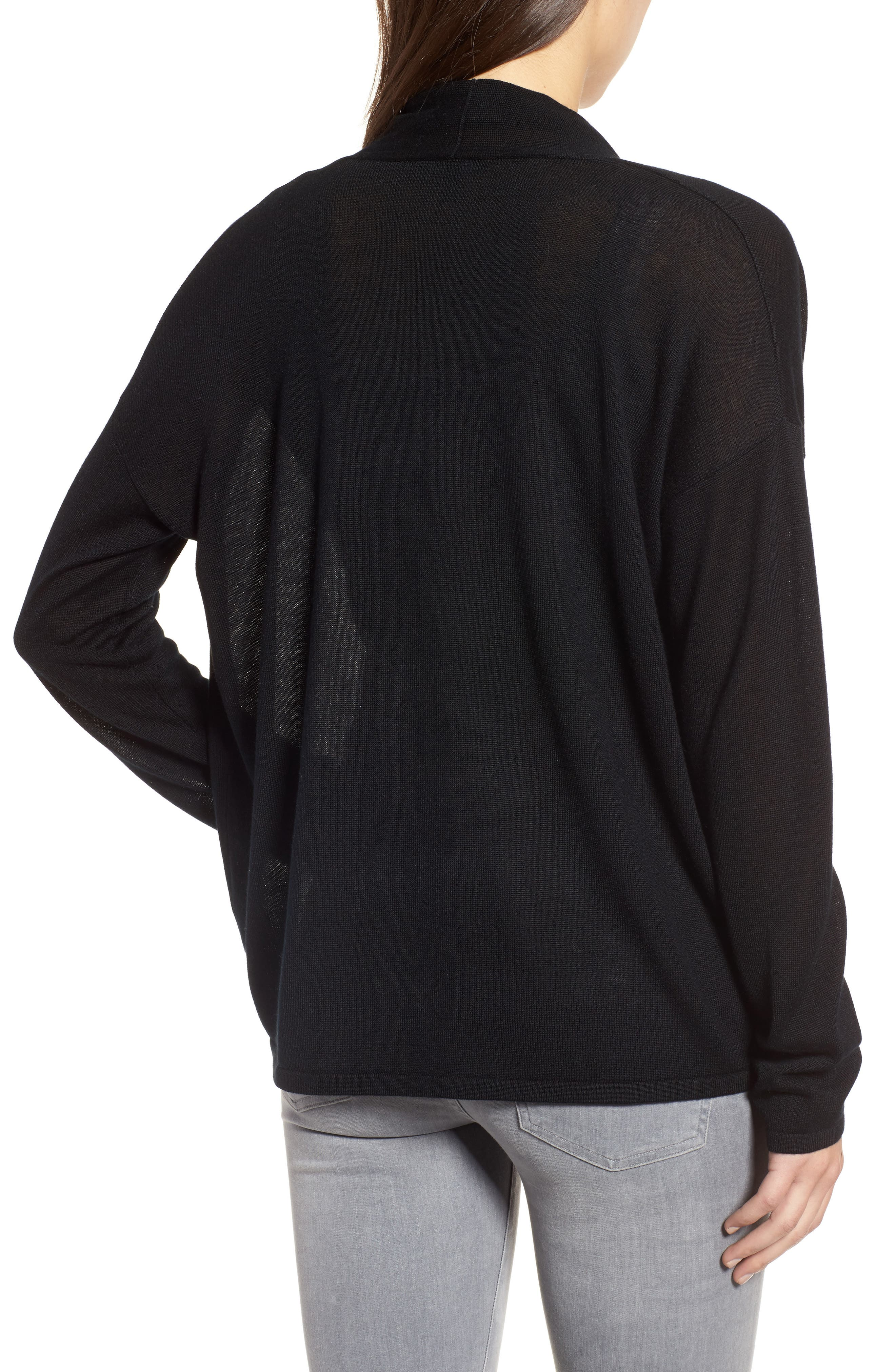Faux Wrap Tencel<sup>®</sup> Lyocell & Merino Wool Sweater,                             Alternate thumbnail 2, color,                             001