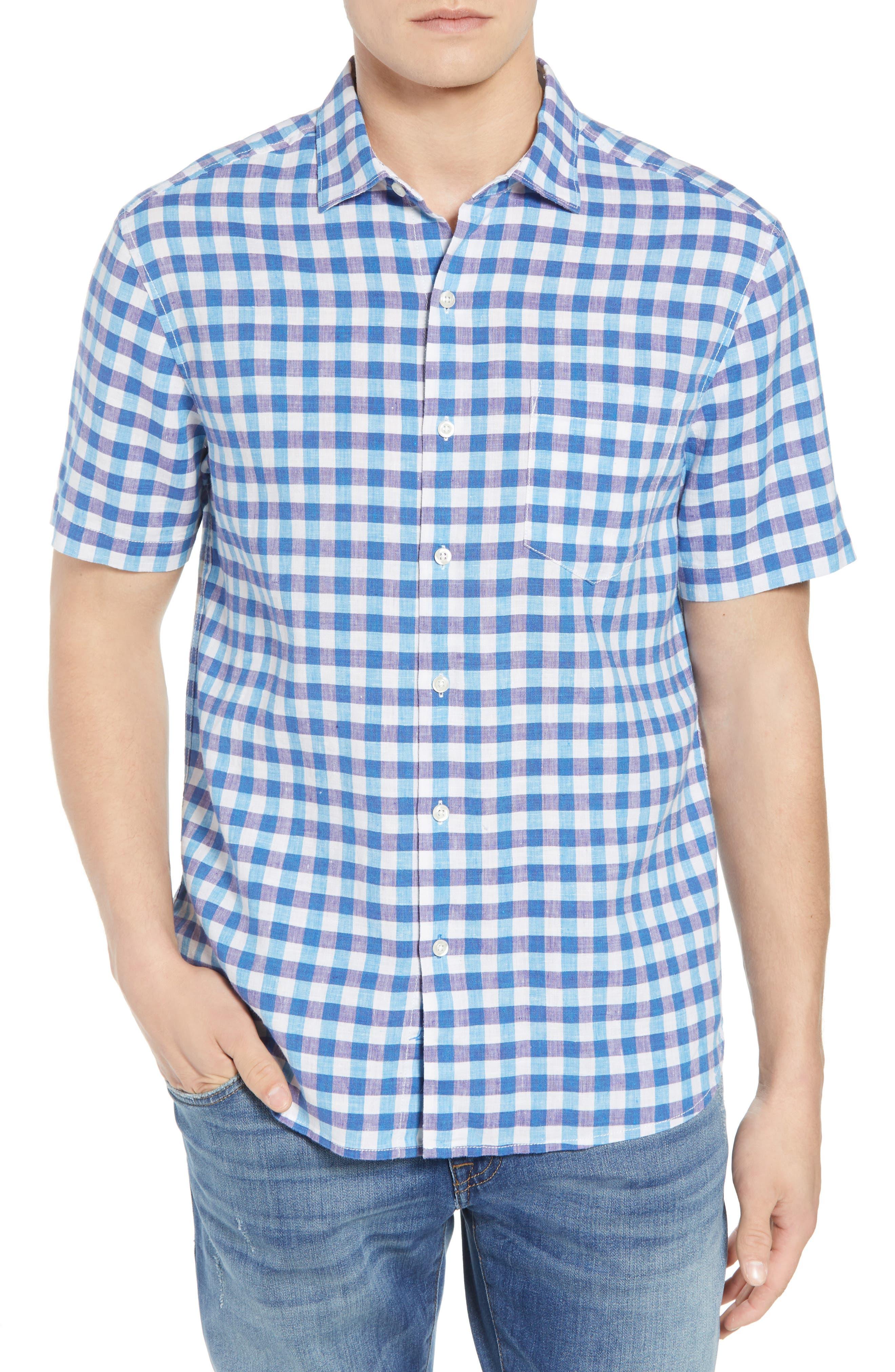 Gingham Del Toro Linen Blend Sport Shirt,                             Main thumbnail 1, color,
