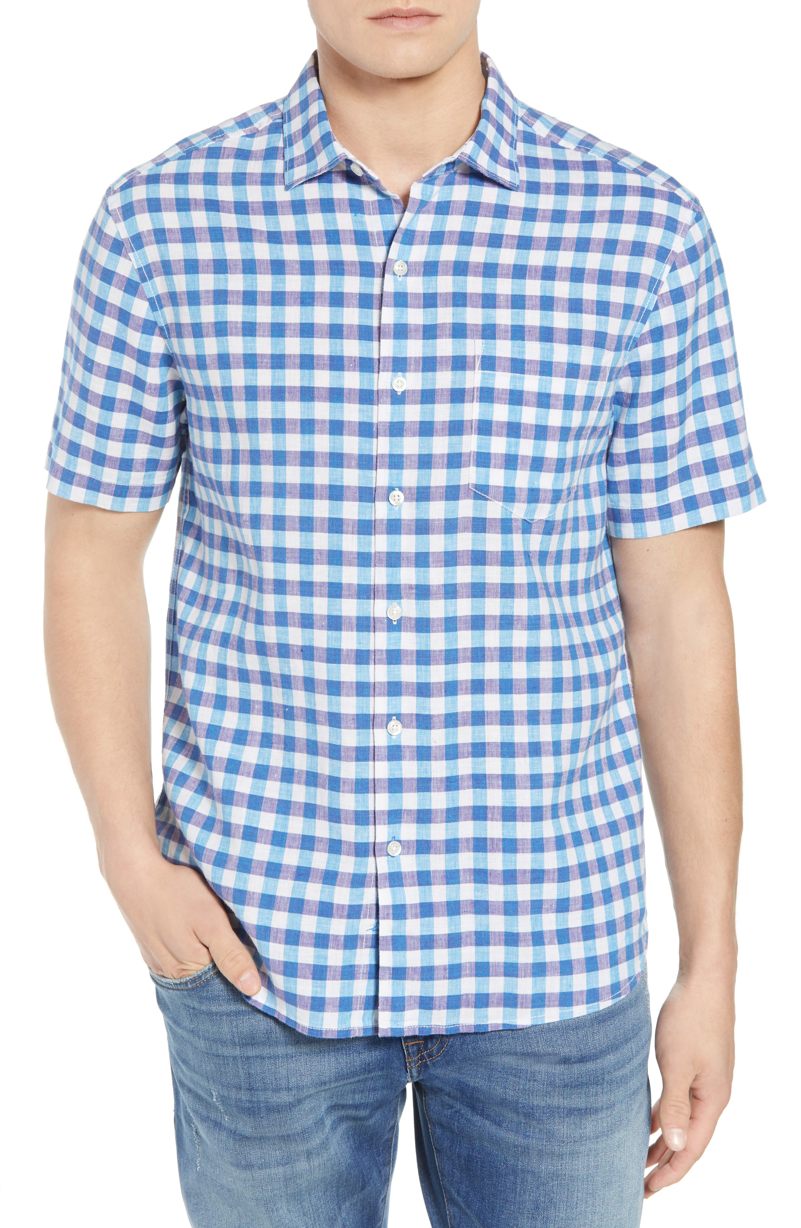 Gingham Del Toro Linen Blend Sport Shirt,                         Main,                         color,