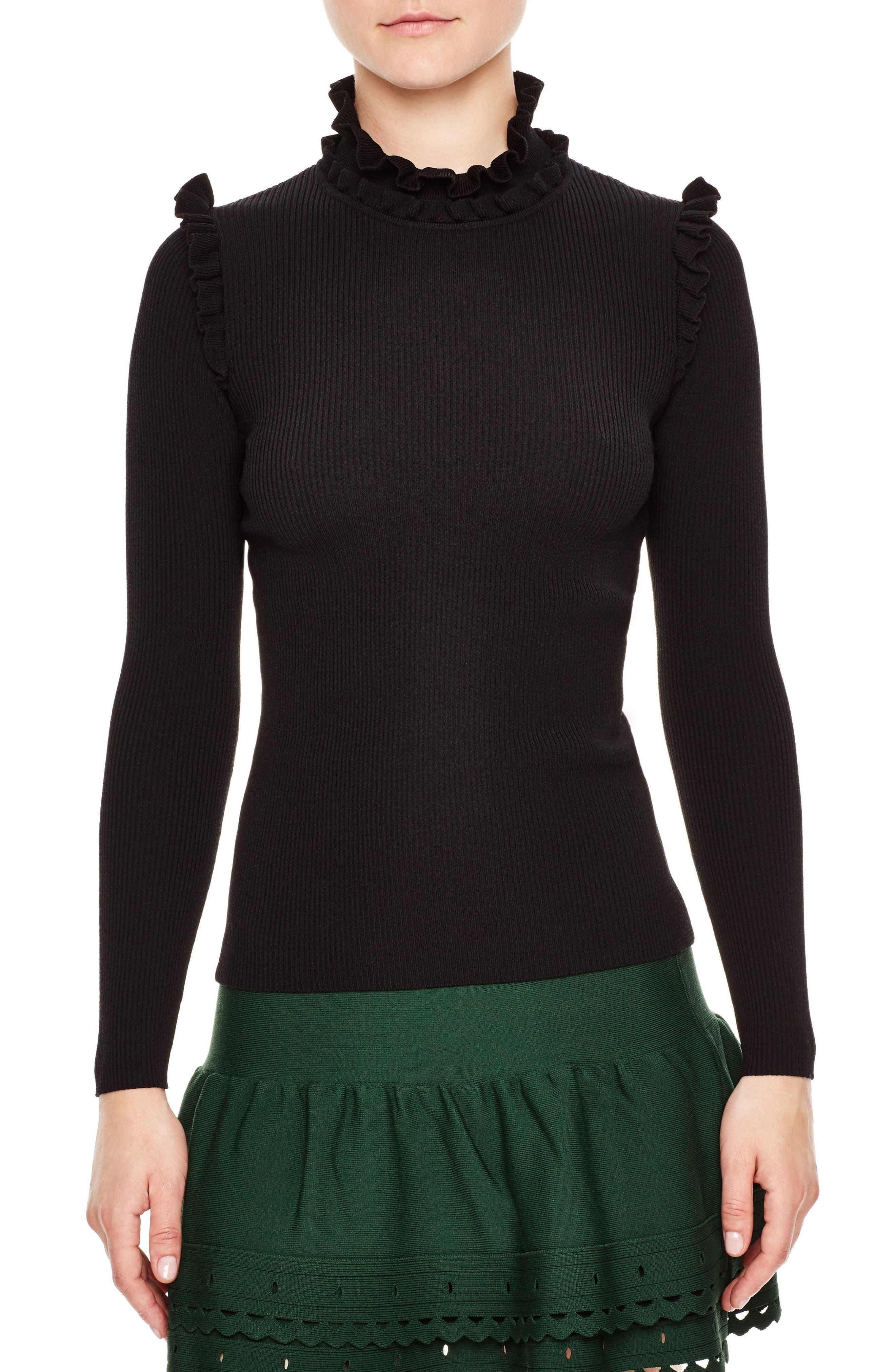Ruffle Trim Turtleneck Sweater,                             Main thumbnail 1, color,                             001