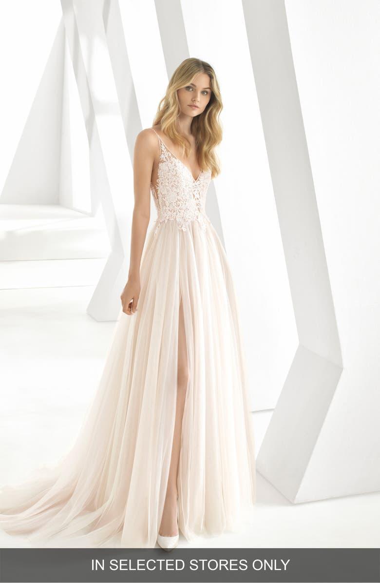 Rosa Clará Donata Front Slit Lace   Tulle Wedding Gown  4e7b090ce