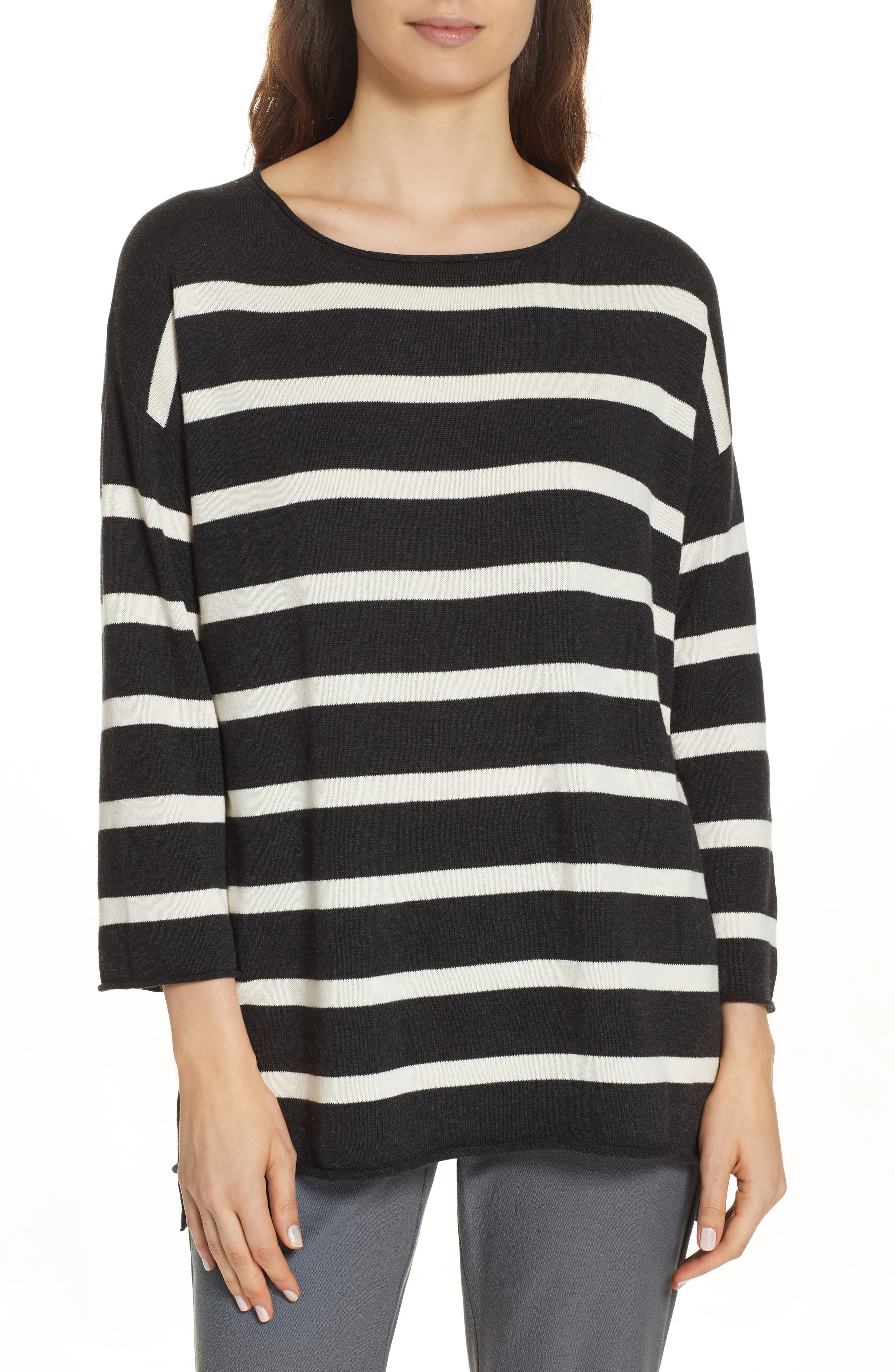 Eileen Fisher Stripe Organic Cotton Sweater, White