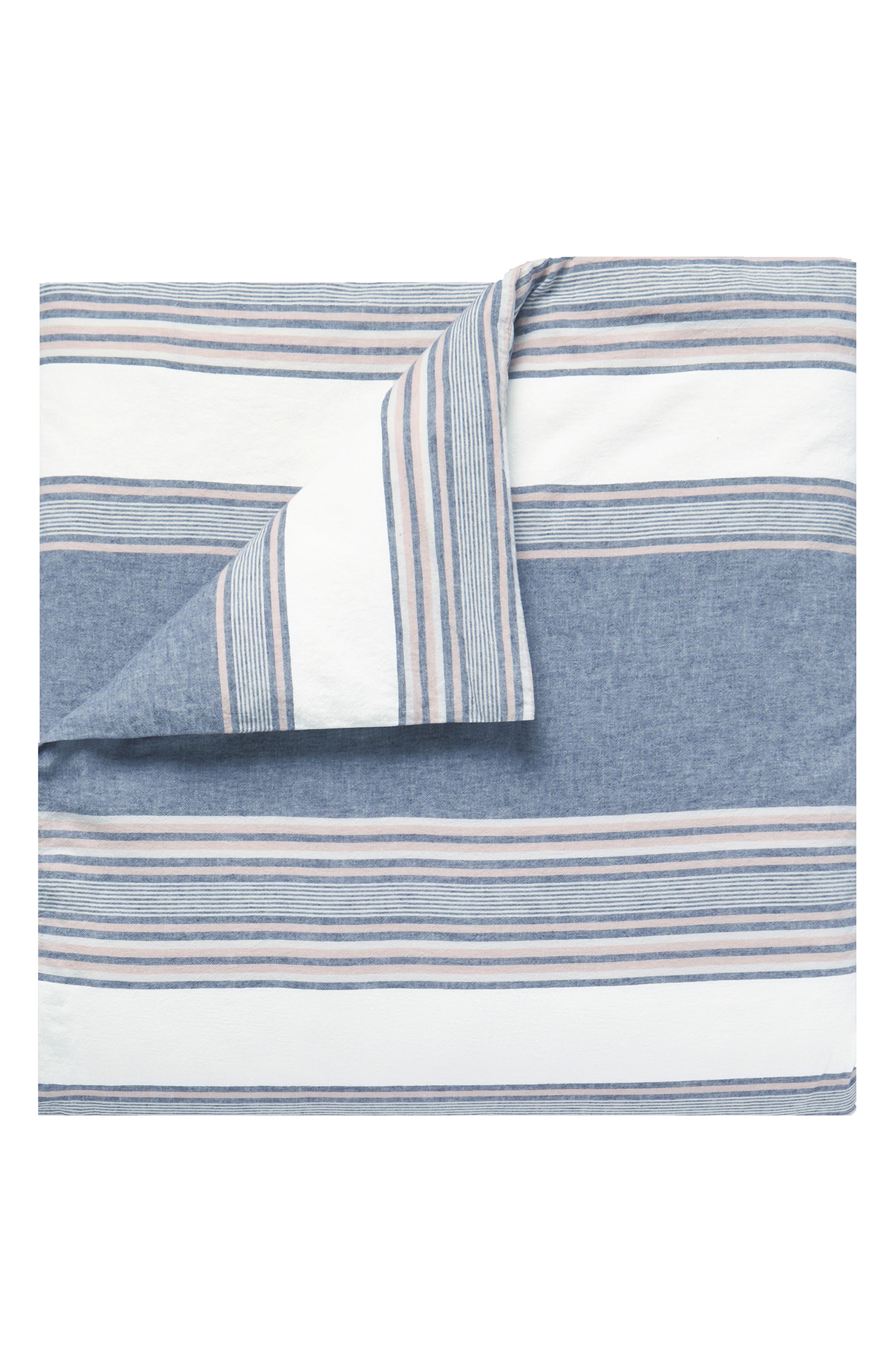 Tuscan Stripe Duvet Cover & Sham Set,                             Alternate thumbnail 5, color,                             NAVY/ MULTI