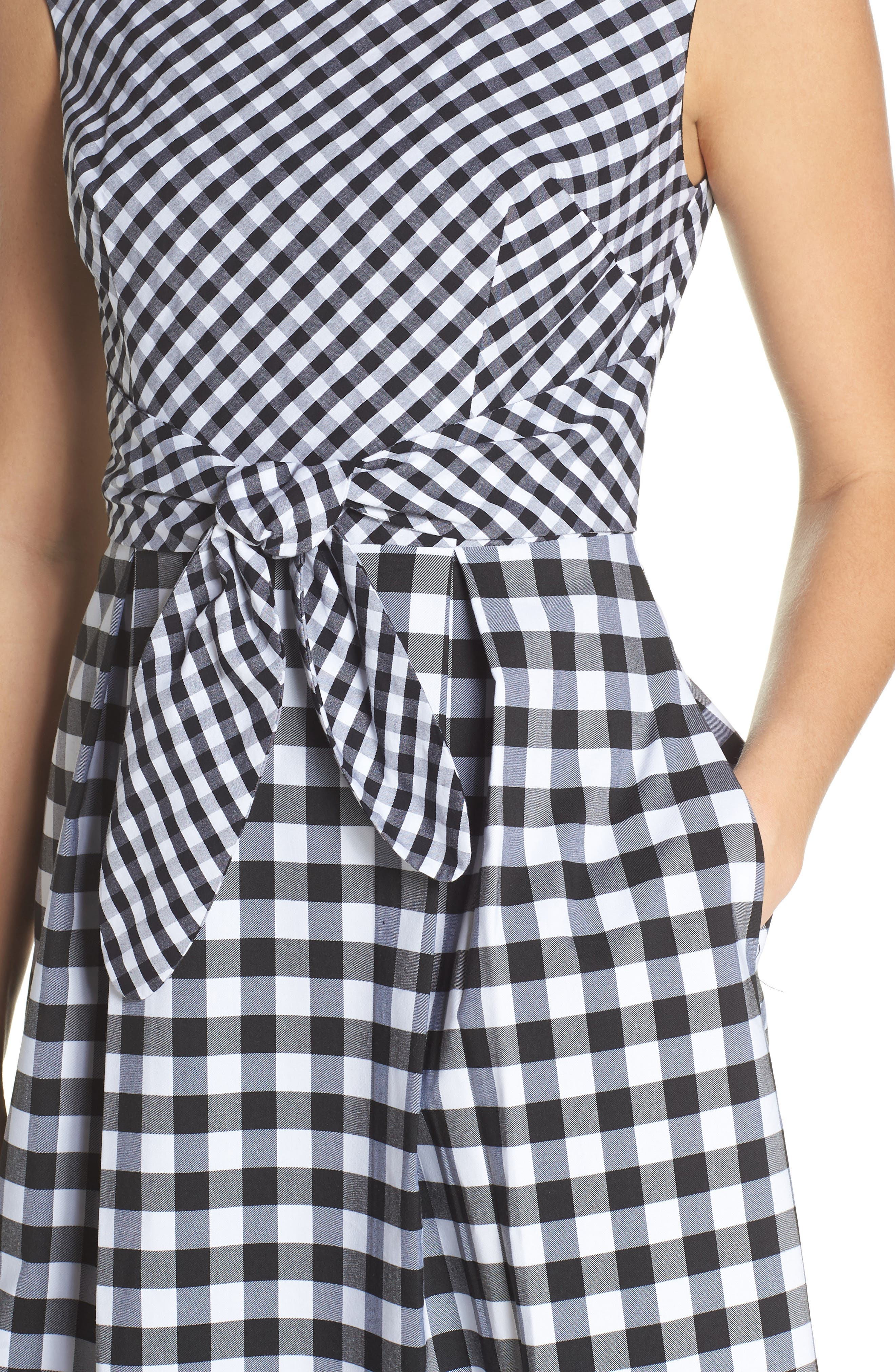 ADRIANNA PAPELL,                             Gingham Tie Front Midi Dress,                             Alternate thumbnail 4, color,                             002
