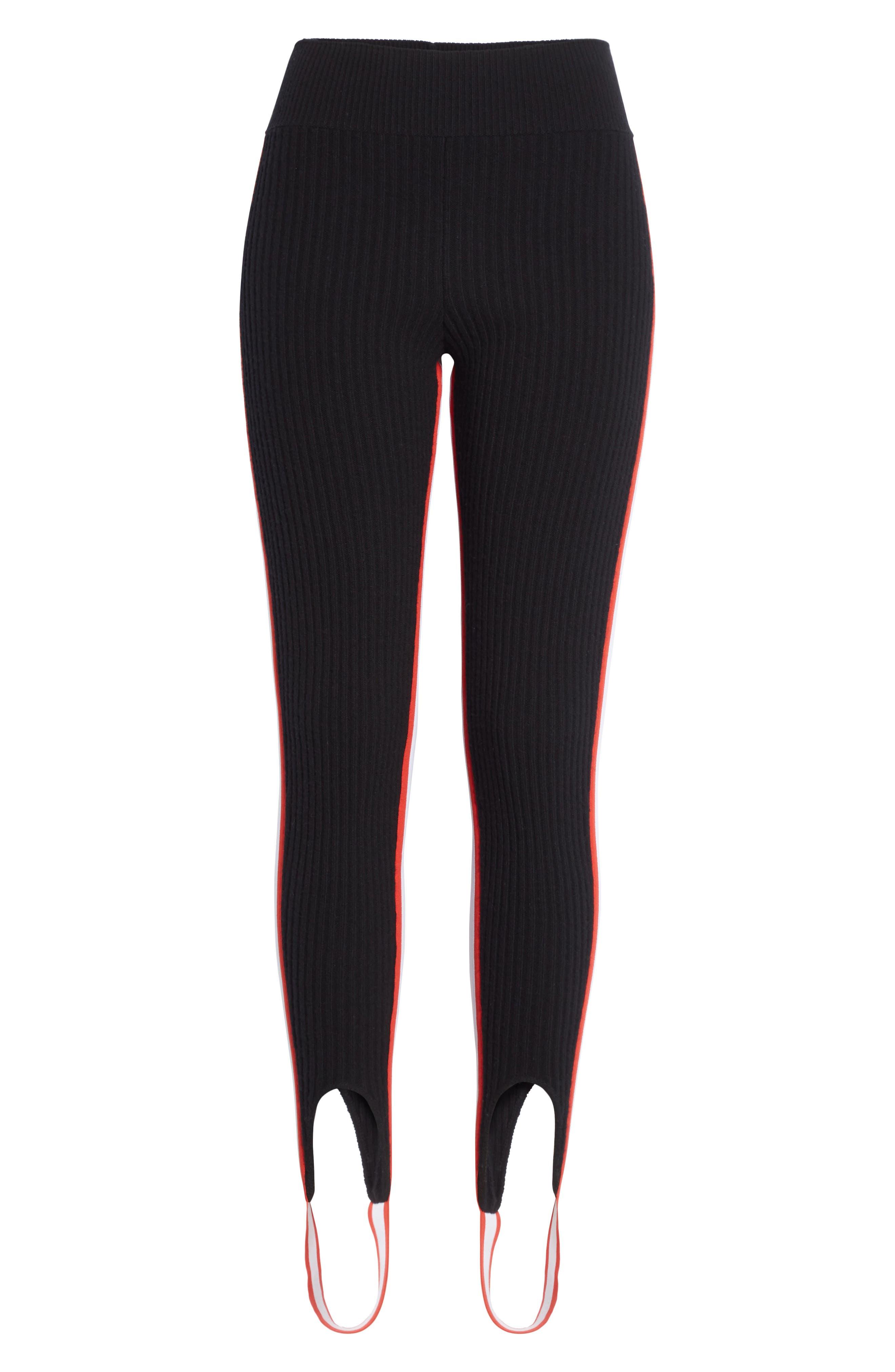 CALVIN KLEIN 205W39NYC,                             Side Stripe Stretch Wool Stirrup Leggings,                             Alternate thumbnail 6, color,                             001