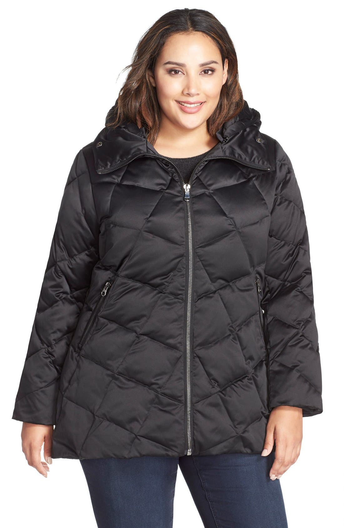 KRISTEN BLAKE,                             Hooded Diamond Quilted A-Line Down Coat,                             Main thumbnail 1, color,                             BLACK
