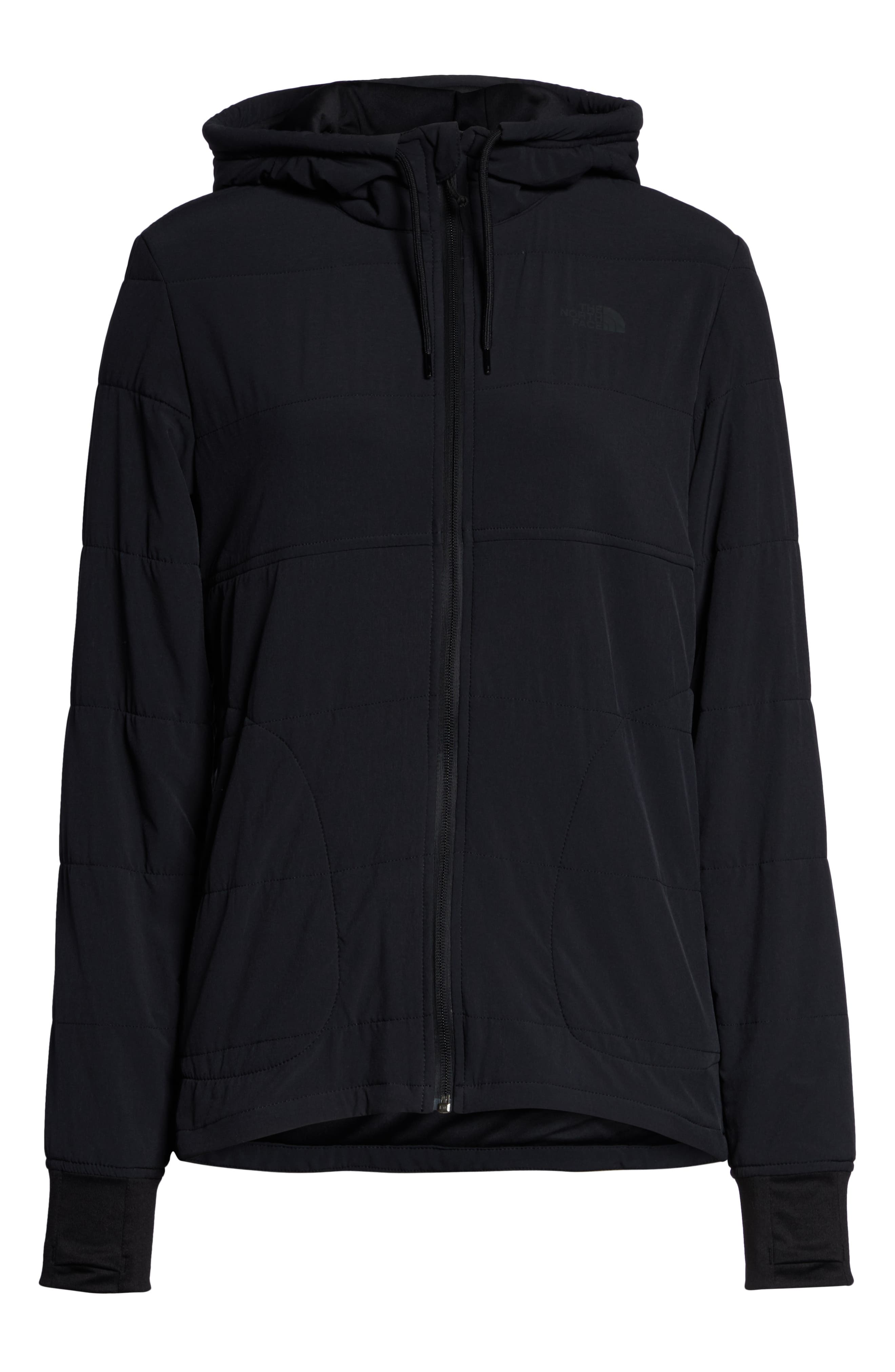 THE NORTH FACE,                             Mountain Insulated Zip Hooded Jacket,                             Alternate thumbnail 6, color,                             TNF BLACK