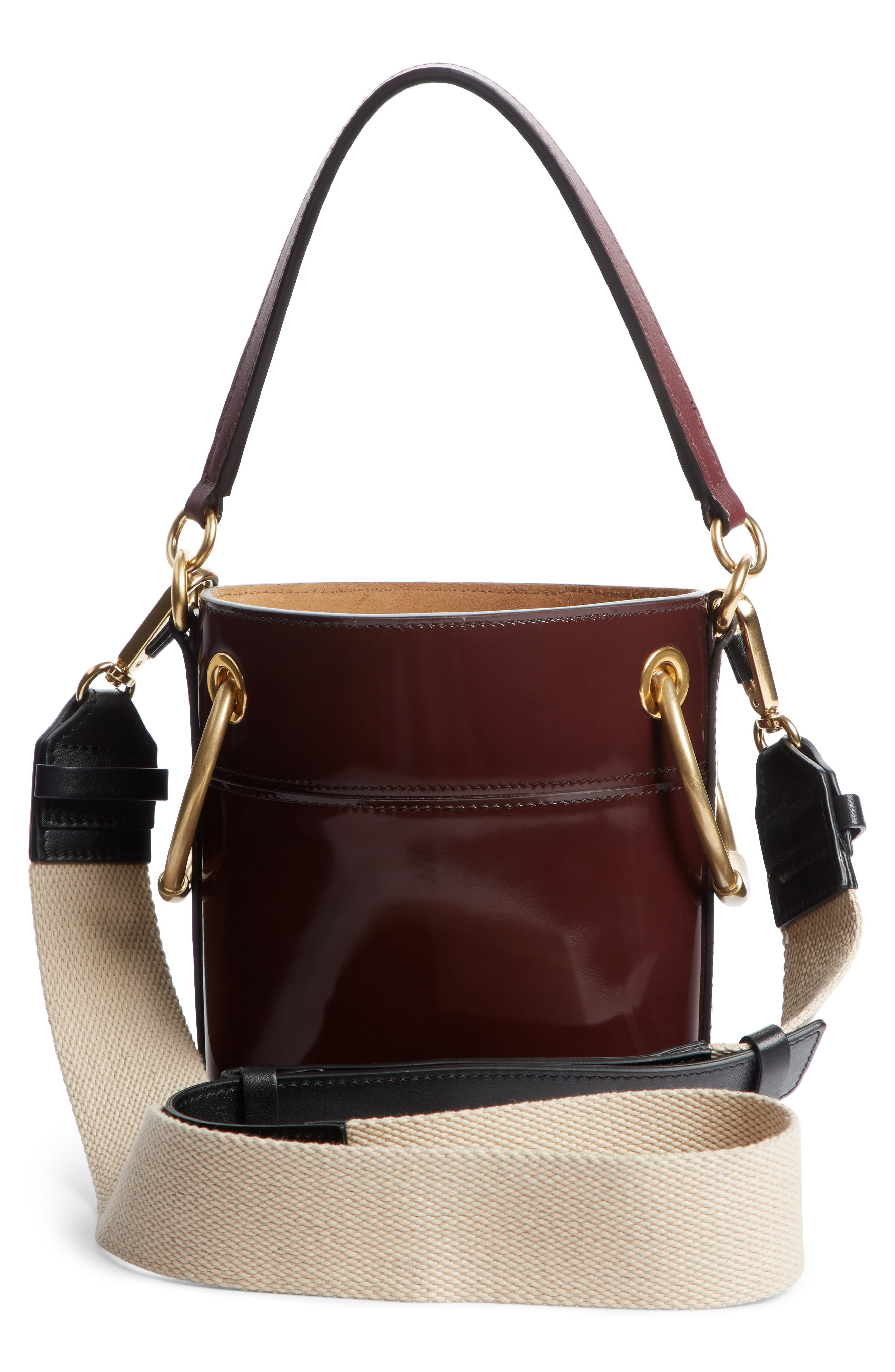 Small Roy Leather Bucket Bag,                             Alternate thumbnail 3, color,                             BURNT BROWN