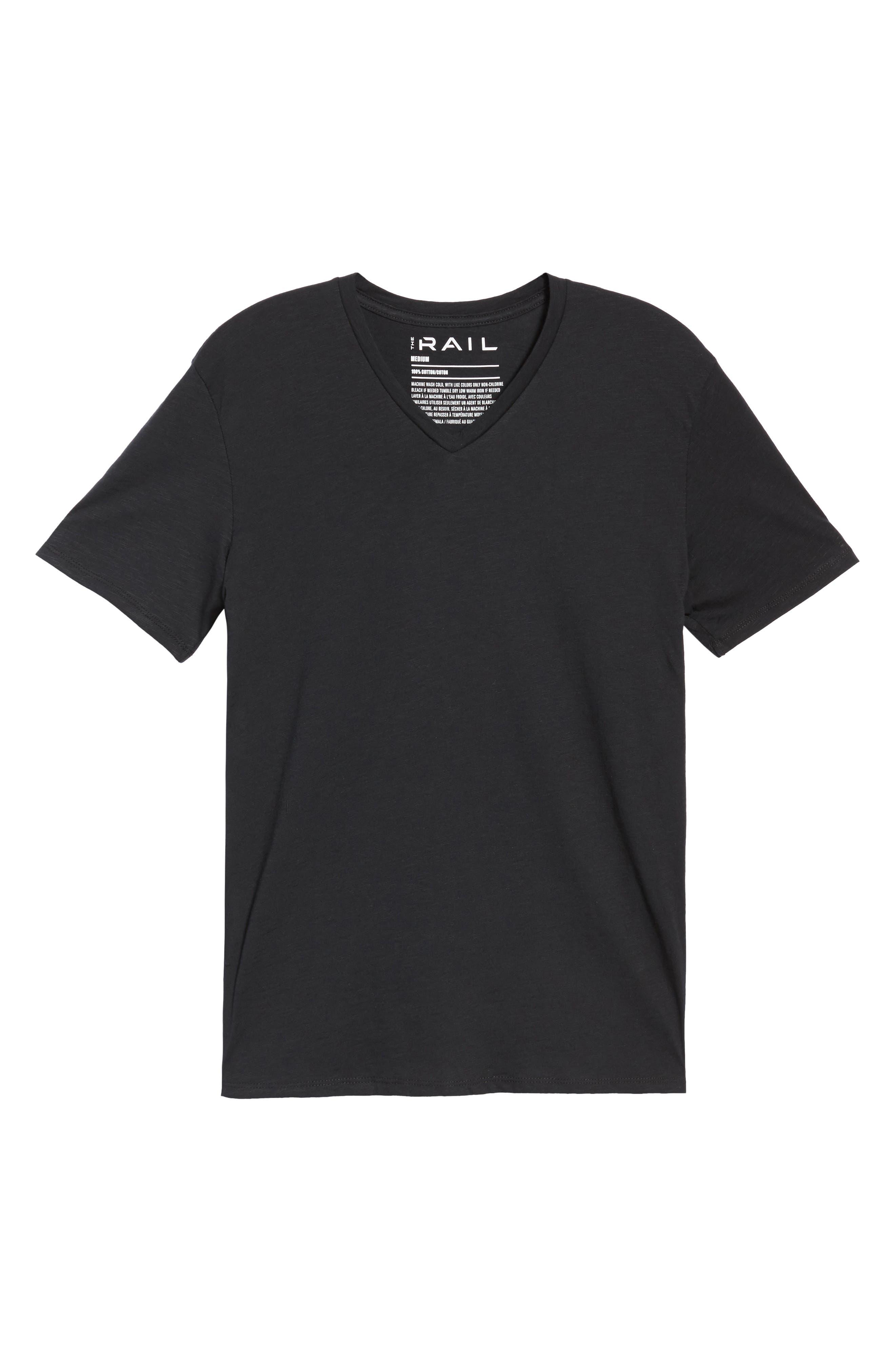 Slub Cotton V-Neck T-Shirt,                             Alternate thumbnail 5, color,                             BLACK