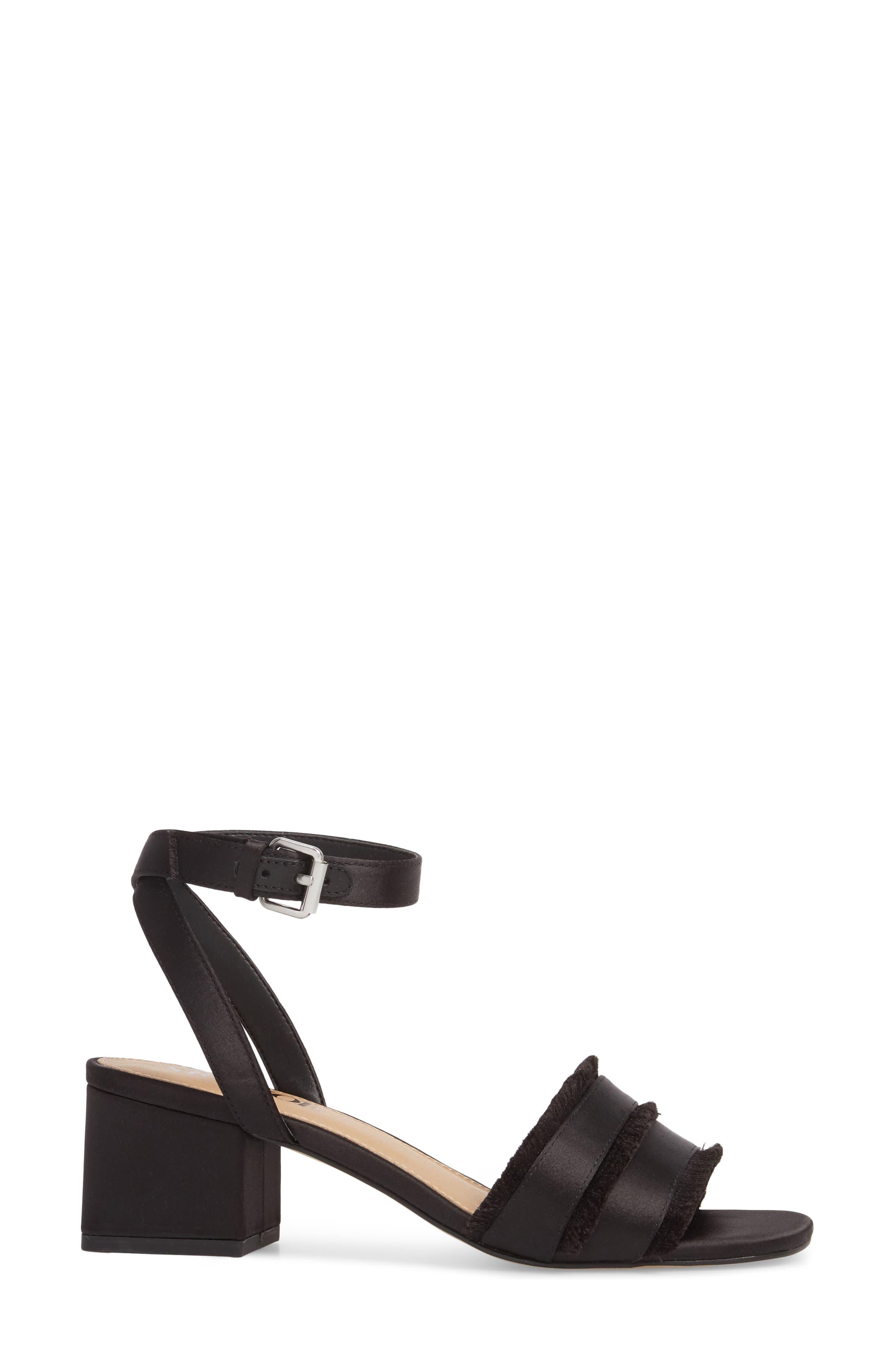 Zaria Fringed Sandal,                             Alternate thumbnail 3, color,                             BLACK SATIN