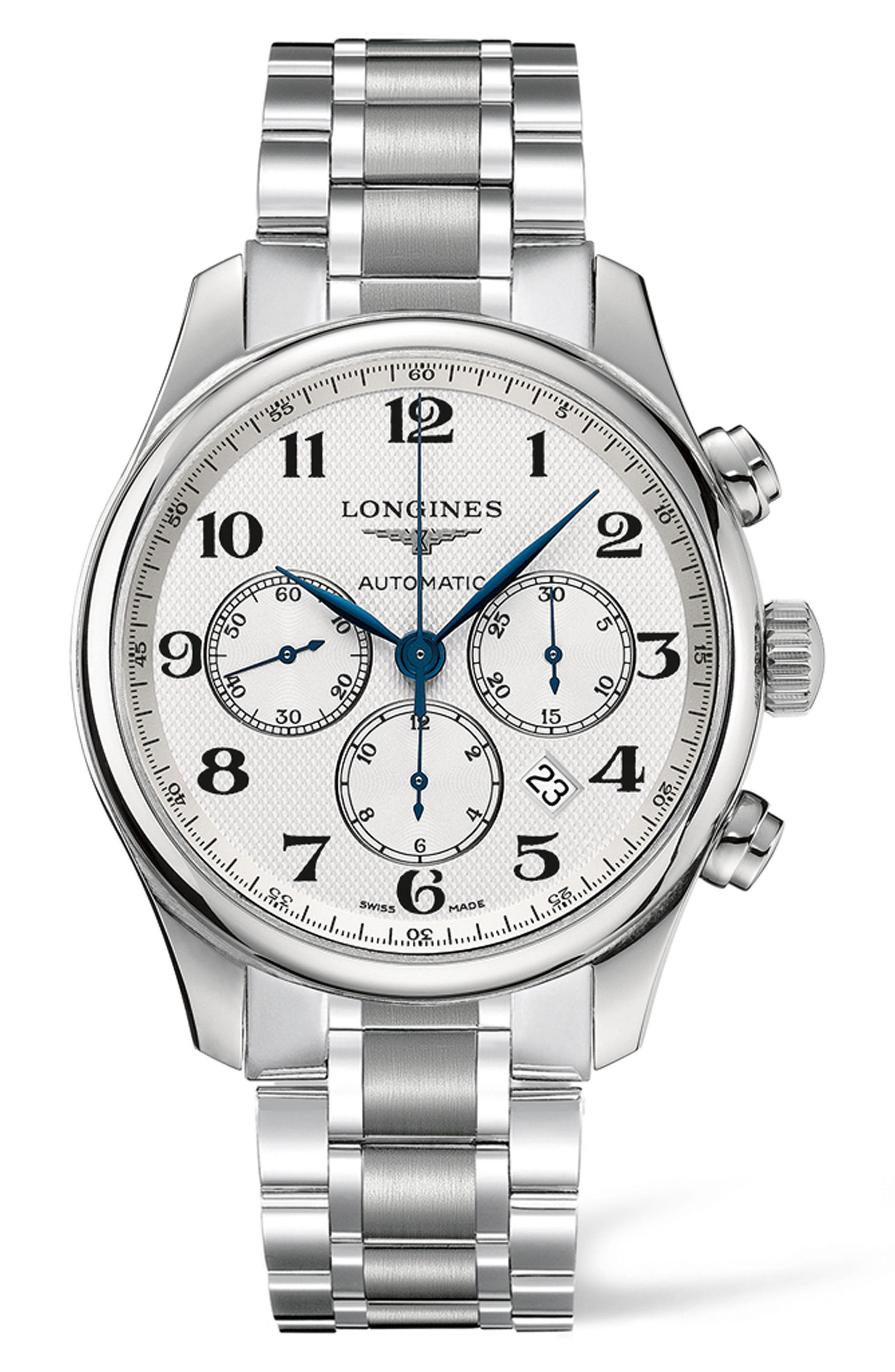 Master Automatic Chronograph Bracelet Watch, 44mm,                             Main thumbnail 1, color,                             SILVER