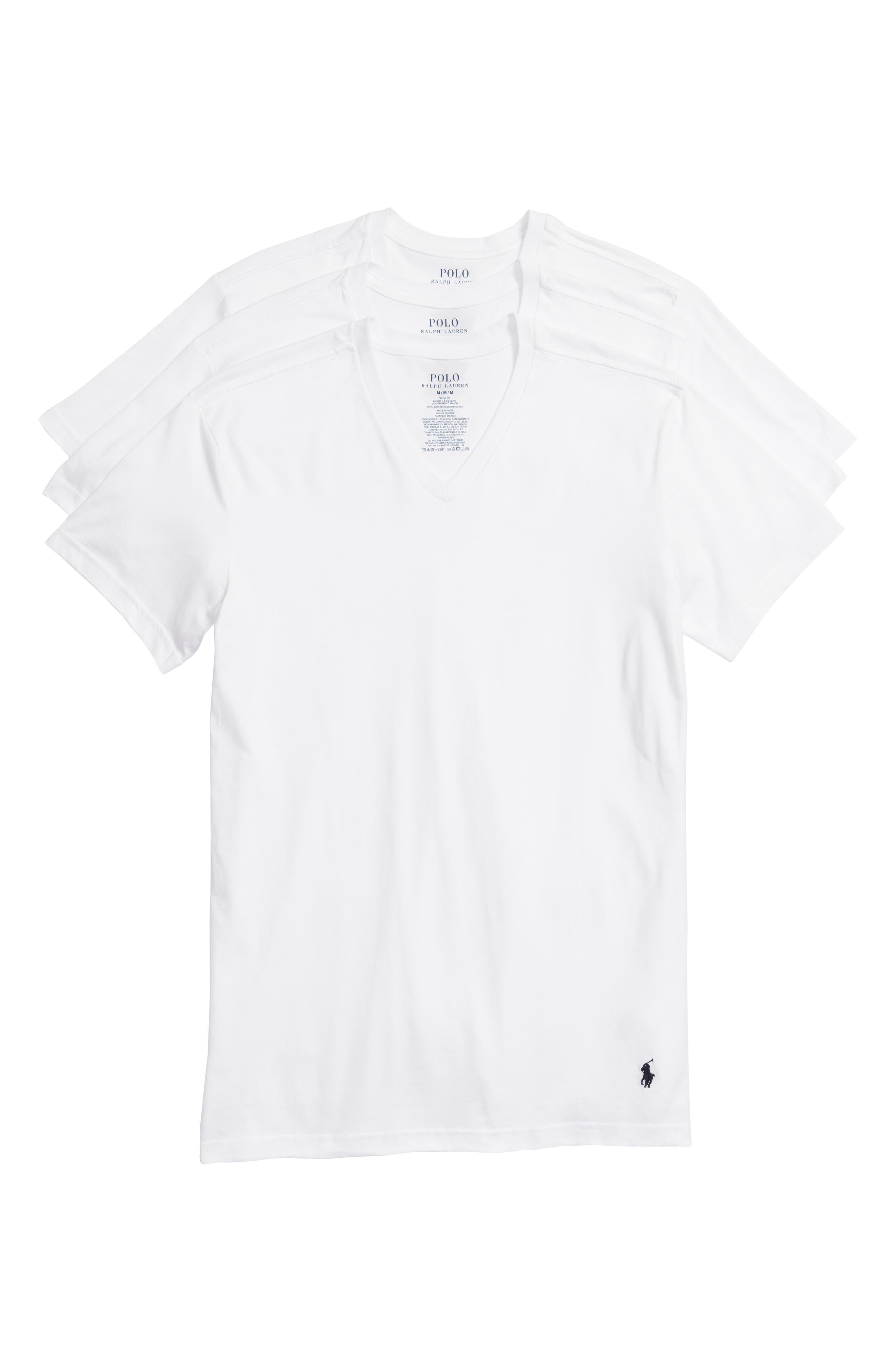 Polo Ralph Lauren 3-Pack Slim Fit V-Neck T-Shirts,                         Main,                         color, WHITE