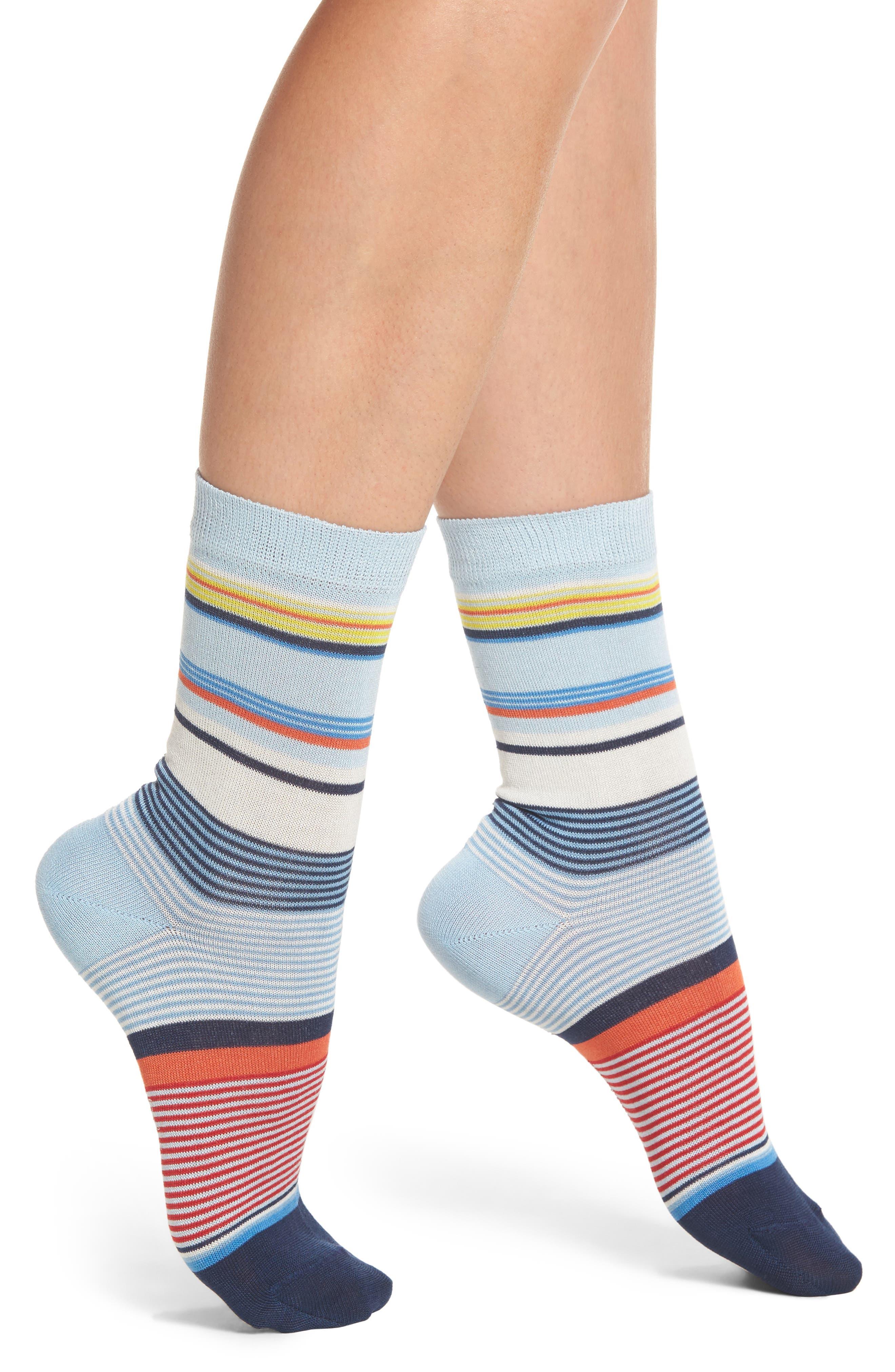 Eliza Stripe Crew Socks,                         Main,                         color, NAVY