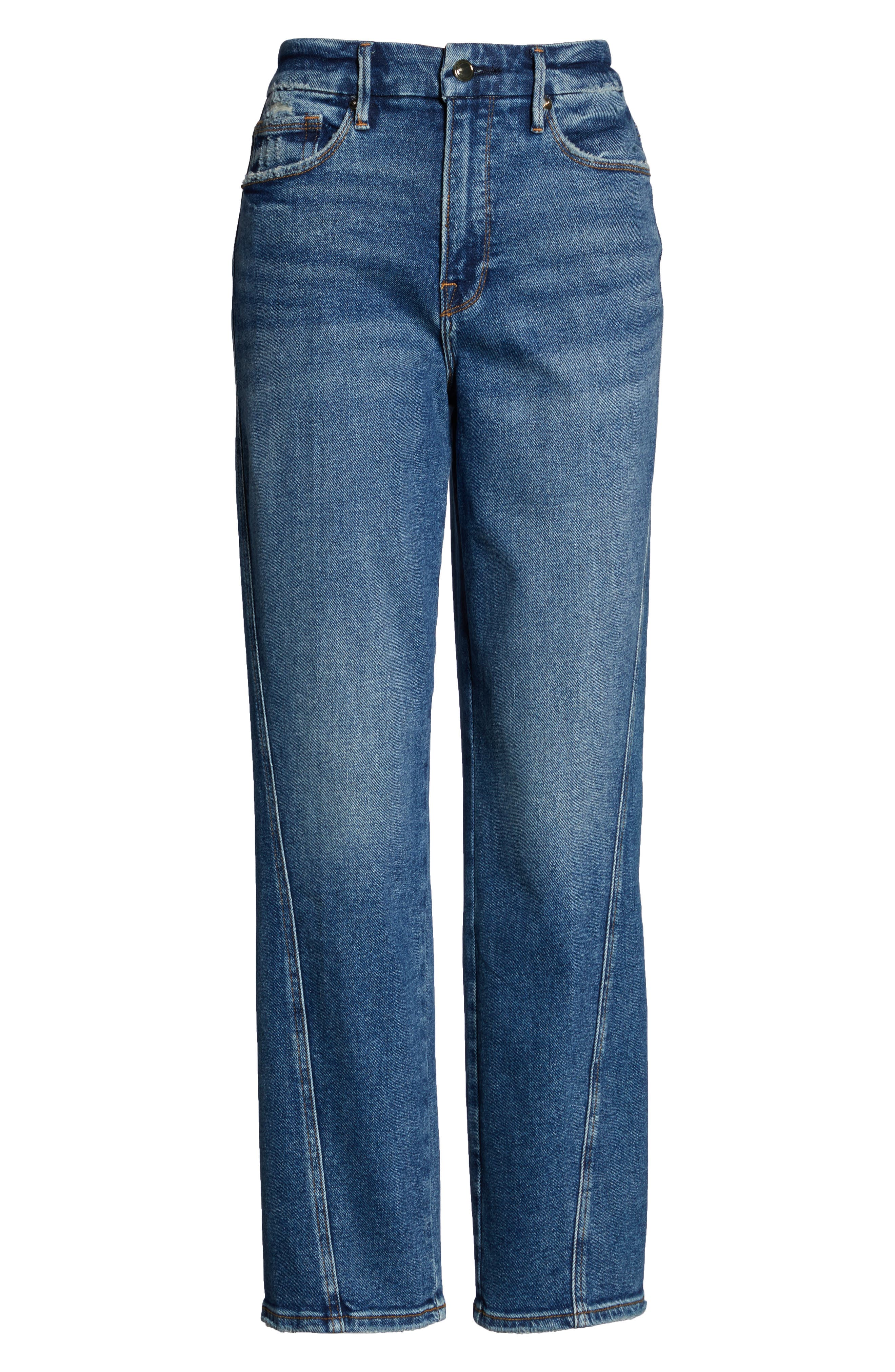 Twist Seam Crop Straight Leg Jeans,                             Alternate thumbnail 2, color,                             BLUE214