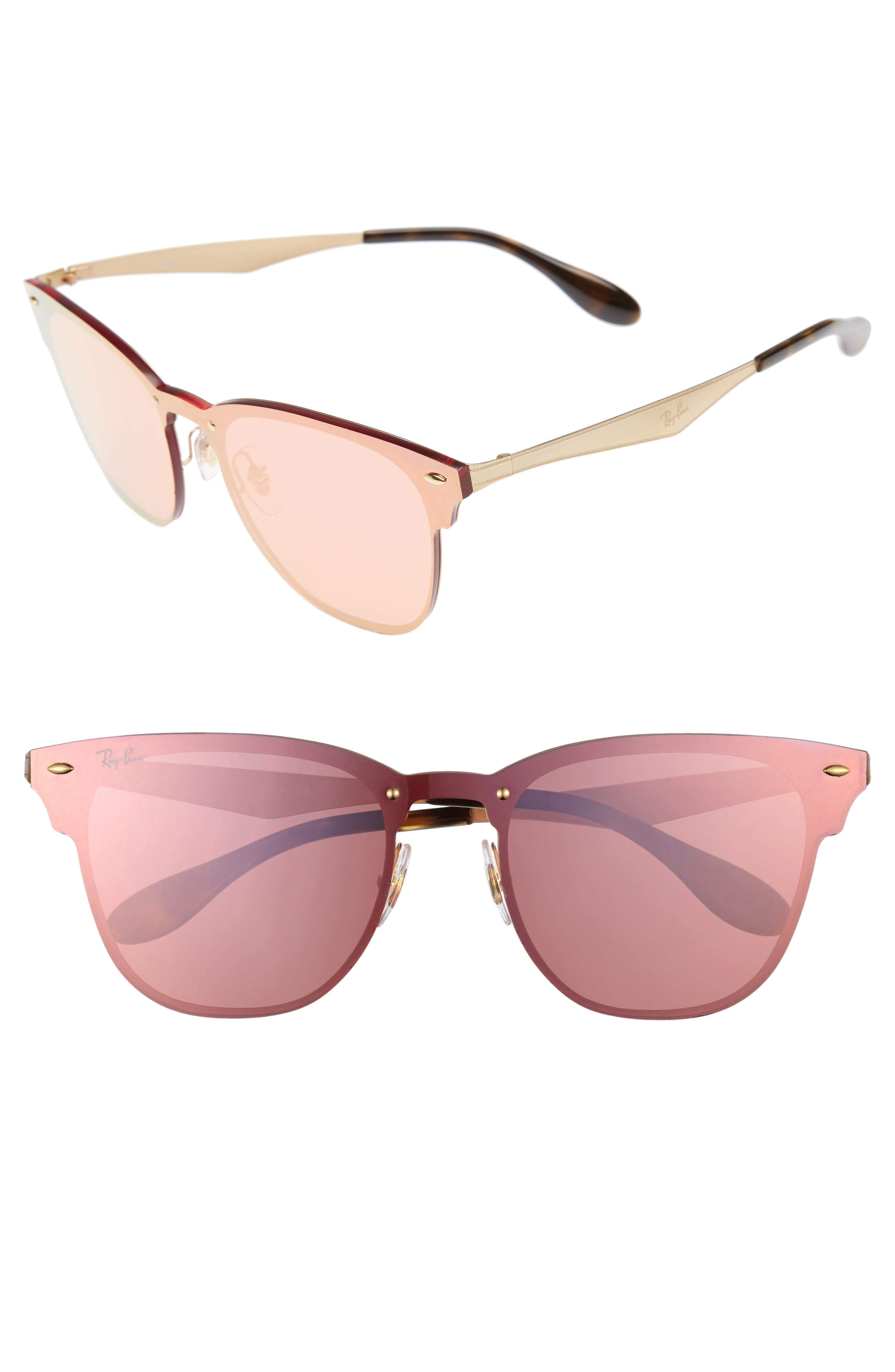 50mm Round Clubmaster Sunglasses,                             Main thumbnail 3, color,