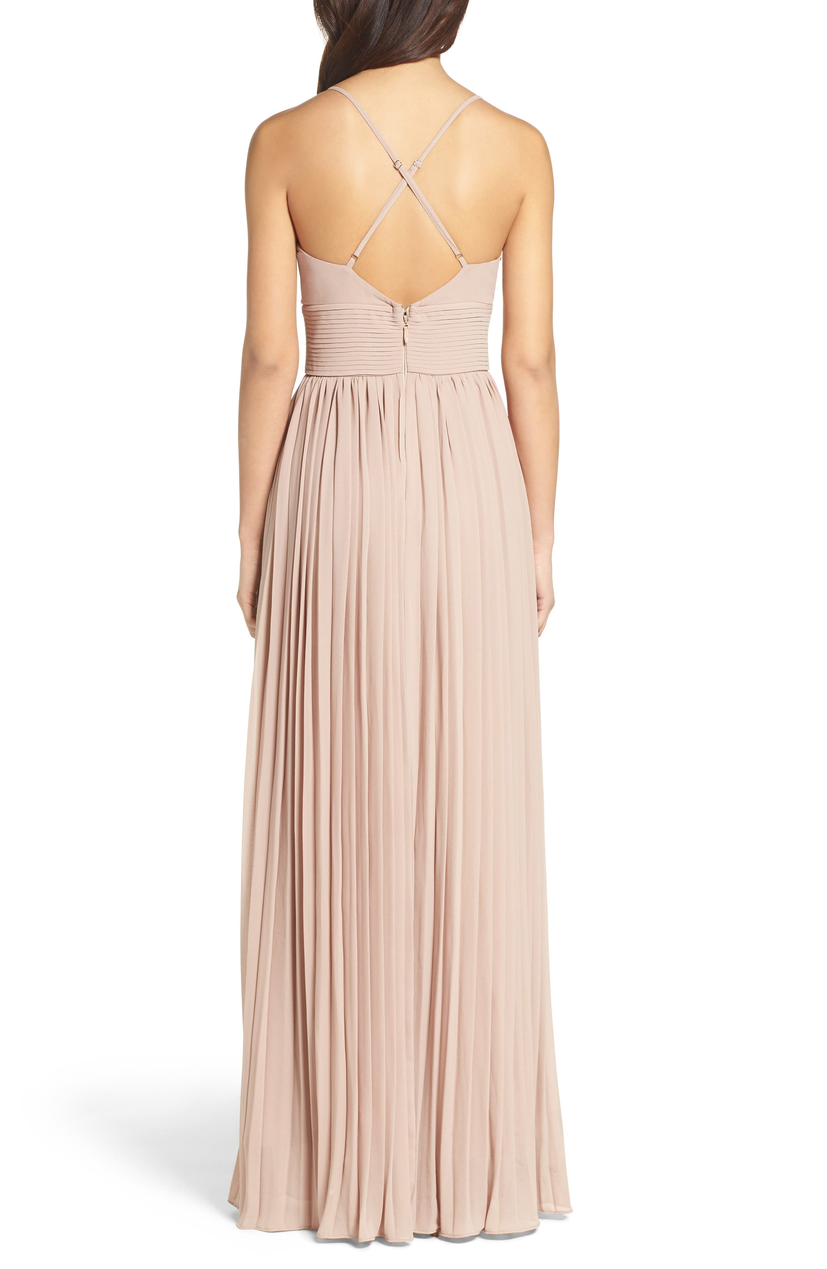 Plunging V-Neck Pleat Georgette Gown,                             Alternate thumbnail 13, color,