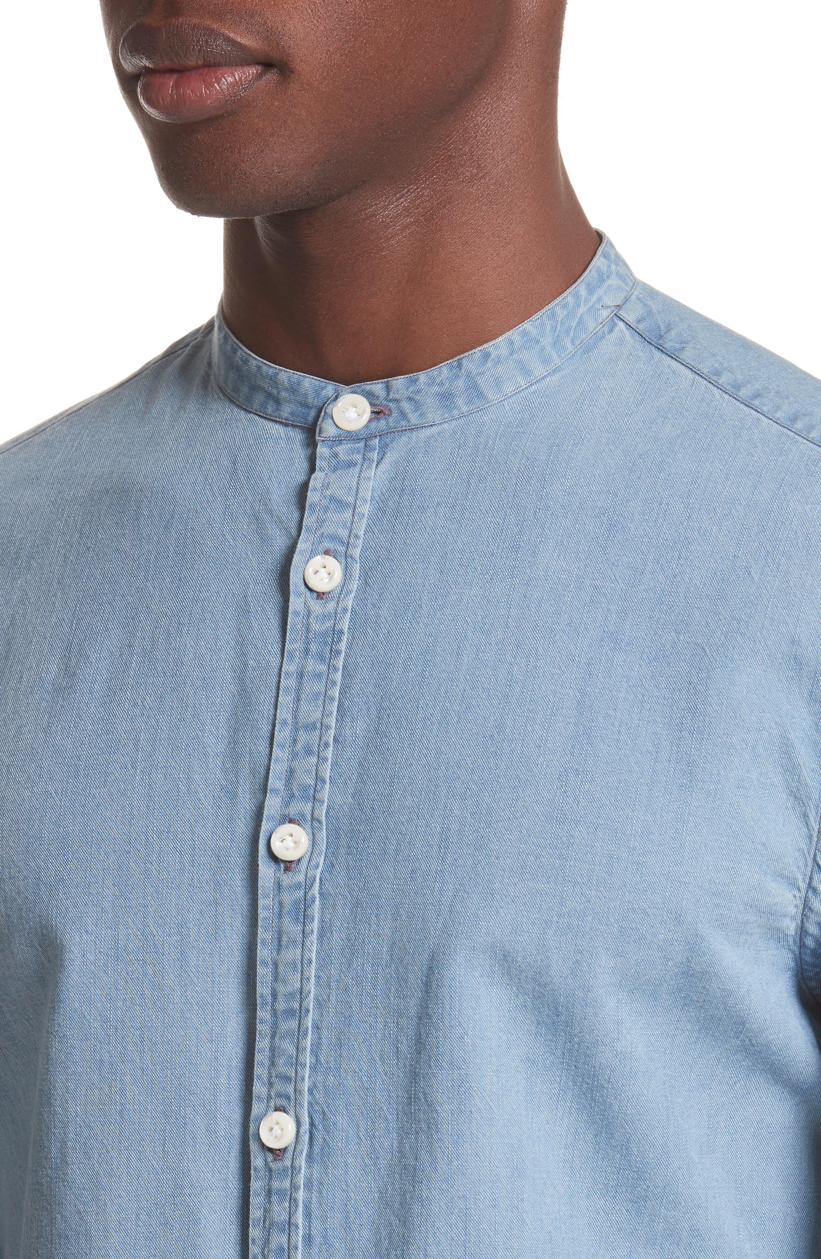Napoli Washed Denim Band Collar Shirt,                             Alternate thumbnail 4, color,                             451