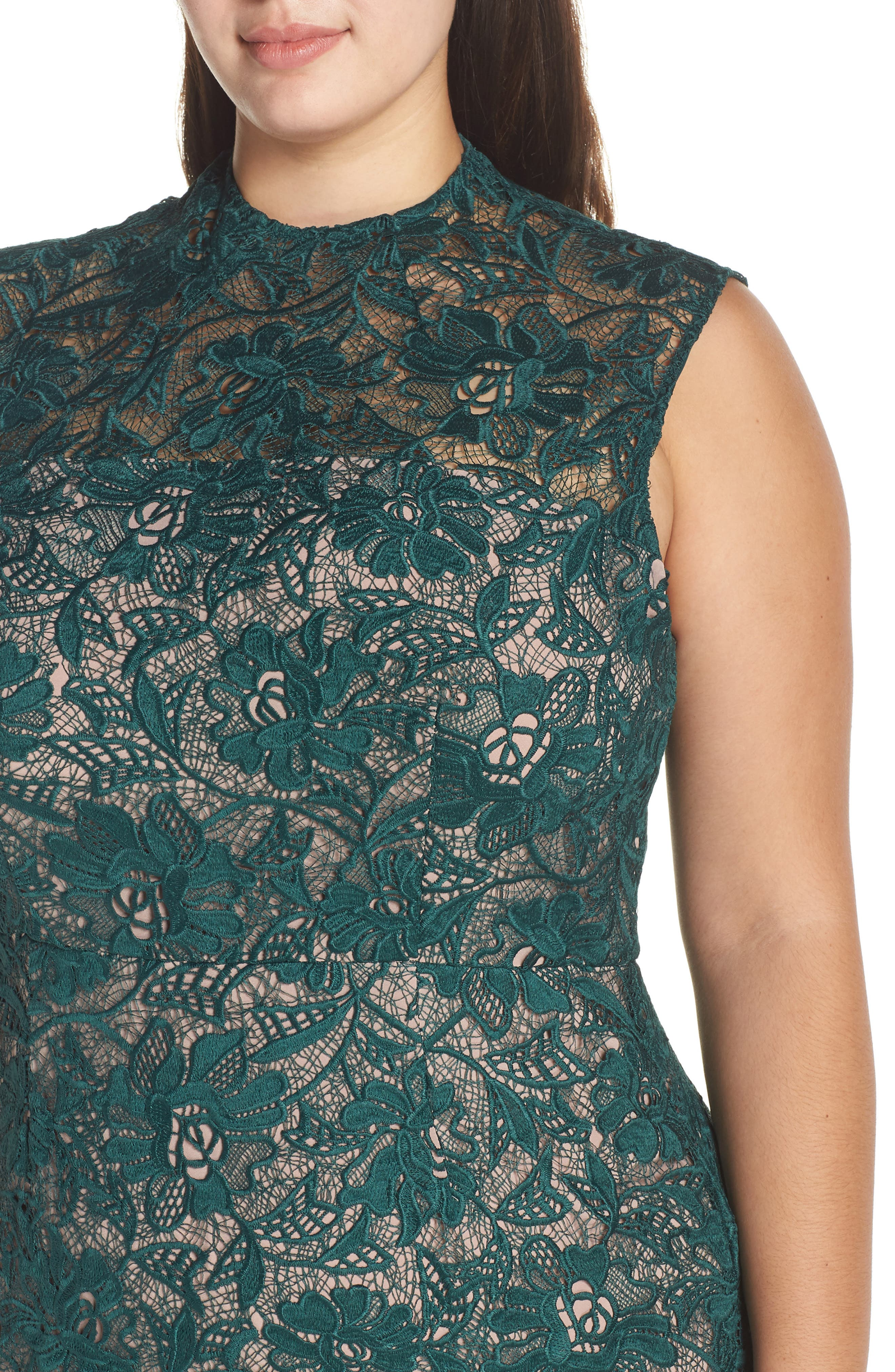 Lace Mock Neck Midi Dress,                             Alternate thumbnail 4, color,                             301