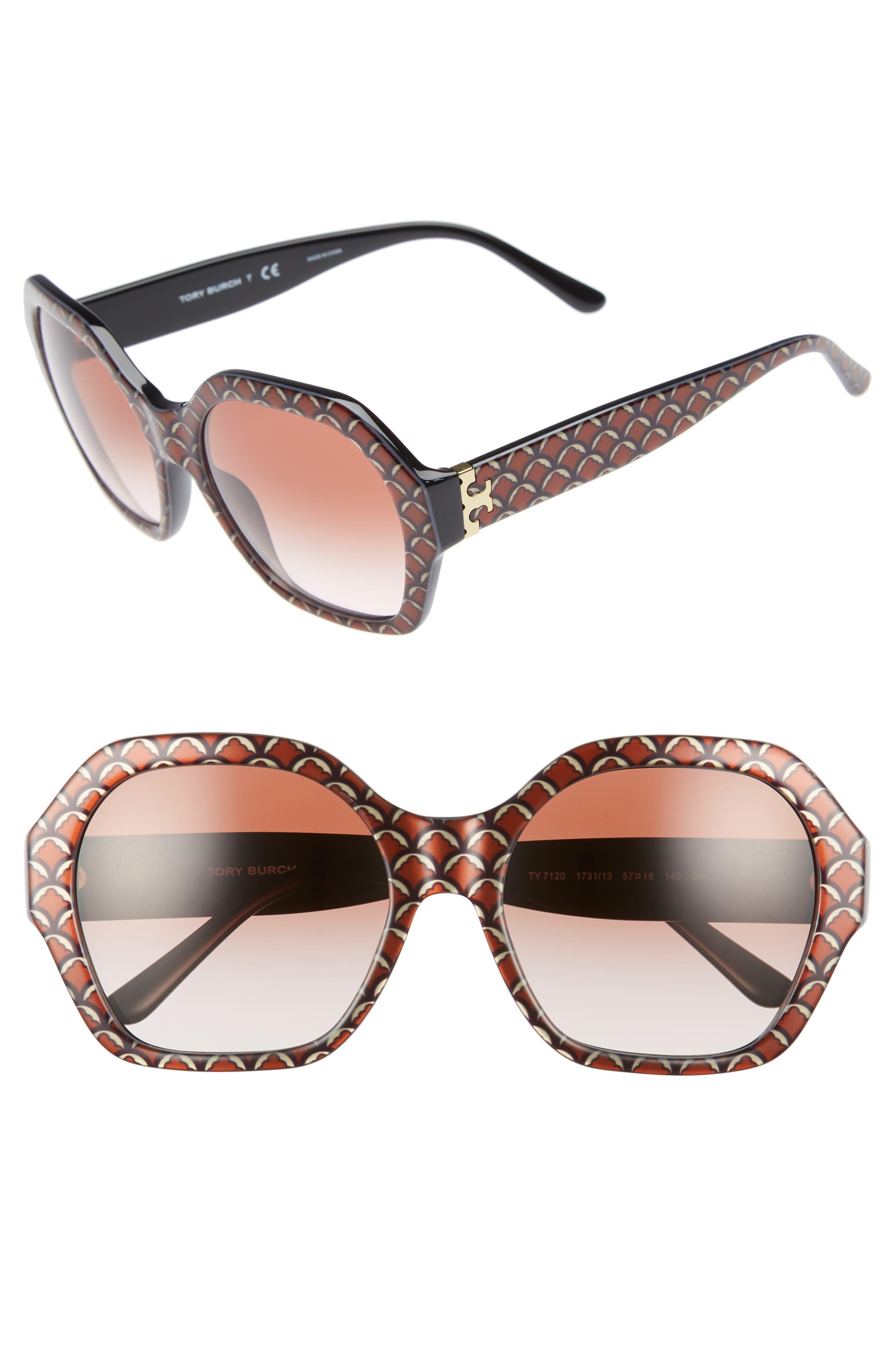 Serif T 57mm Hexagonal Sunglasses,                             Main thumbnail 1, color,                             BLACK PRINT