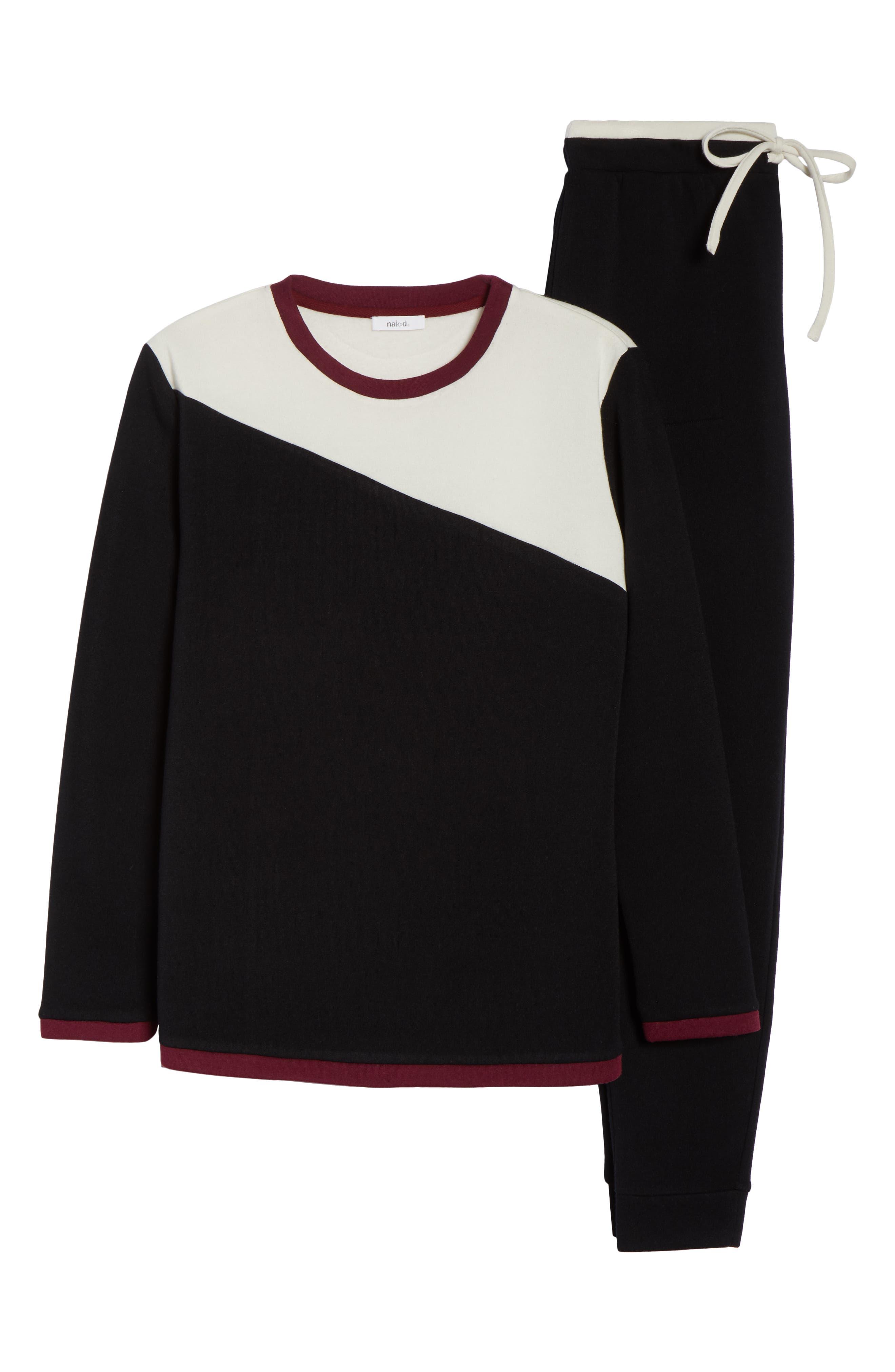 Fleece Cozy Lounger Pajamas,                             Alternate thumbnail 6, color,                             BLACK