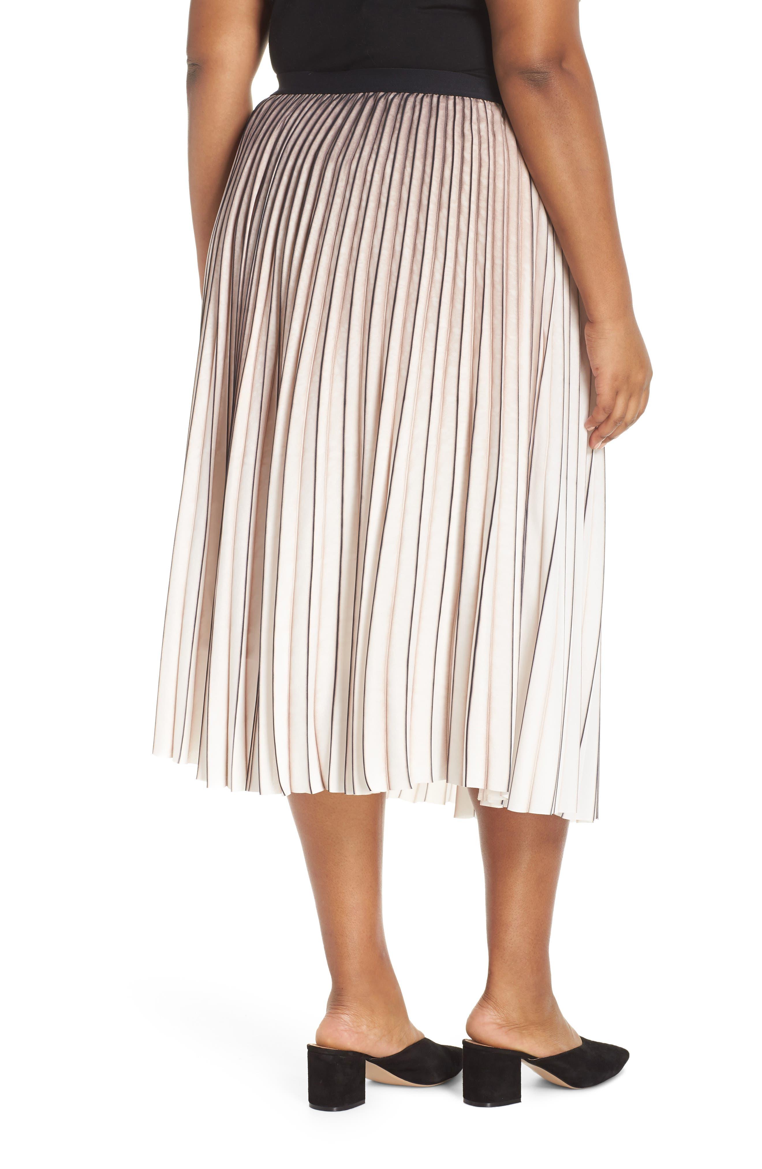 Stripe Pleat Skirt,                             Alternate thumbnail 2, color,                             MULTI